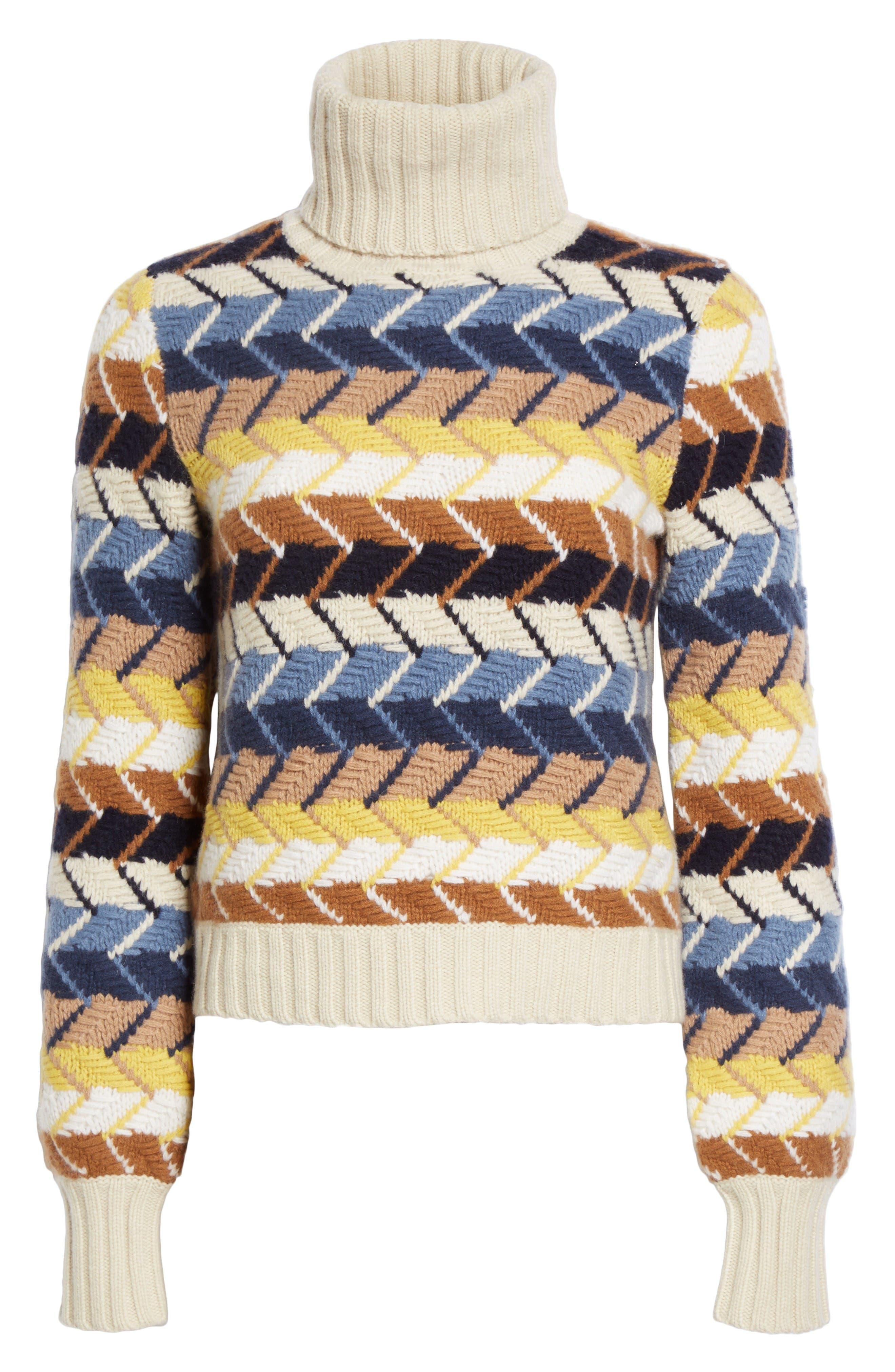 Herringbone Wool & Cashmere Turtleneck Sweater,                             Alternate thumbnail 4, color,                             Multicolor Blue