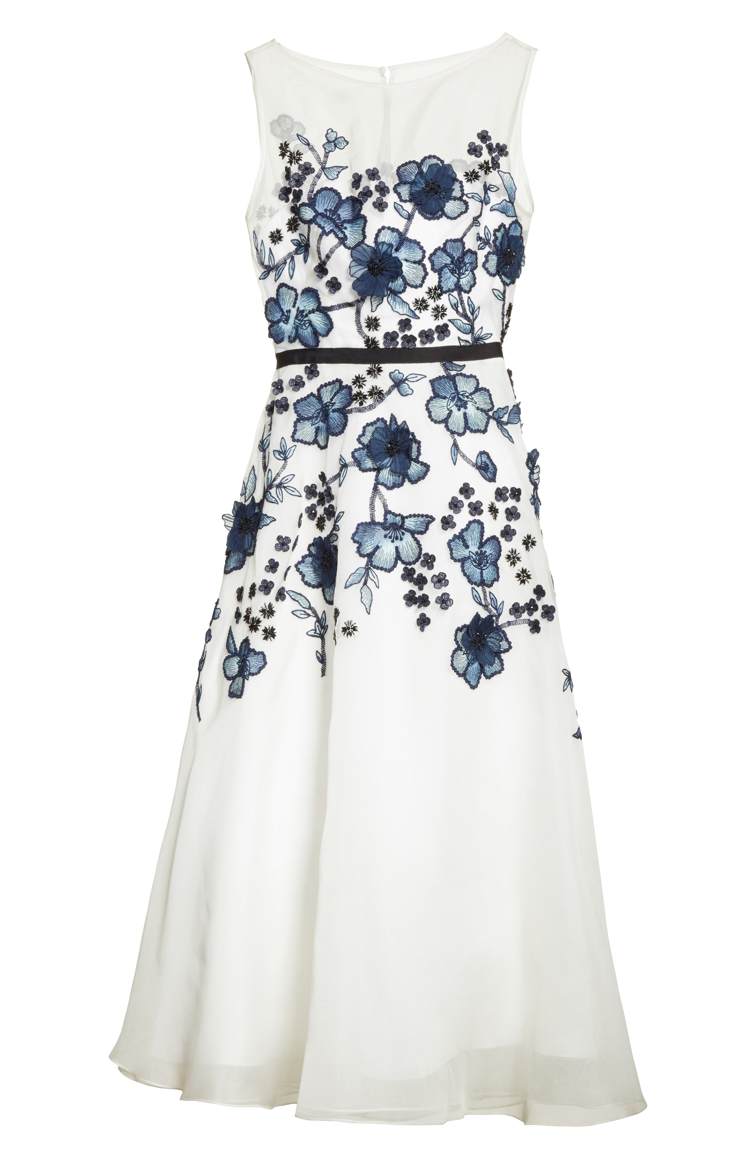 Floral Embroidered Dress,                             Alternate thumbnail 4, color,                             Navy/ Ivory