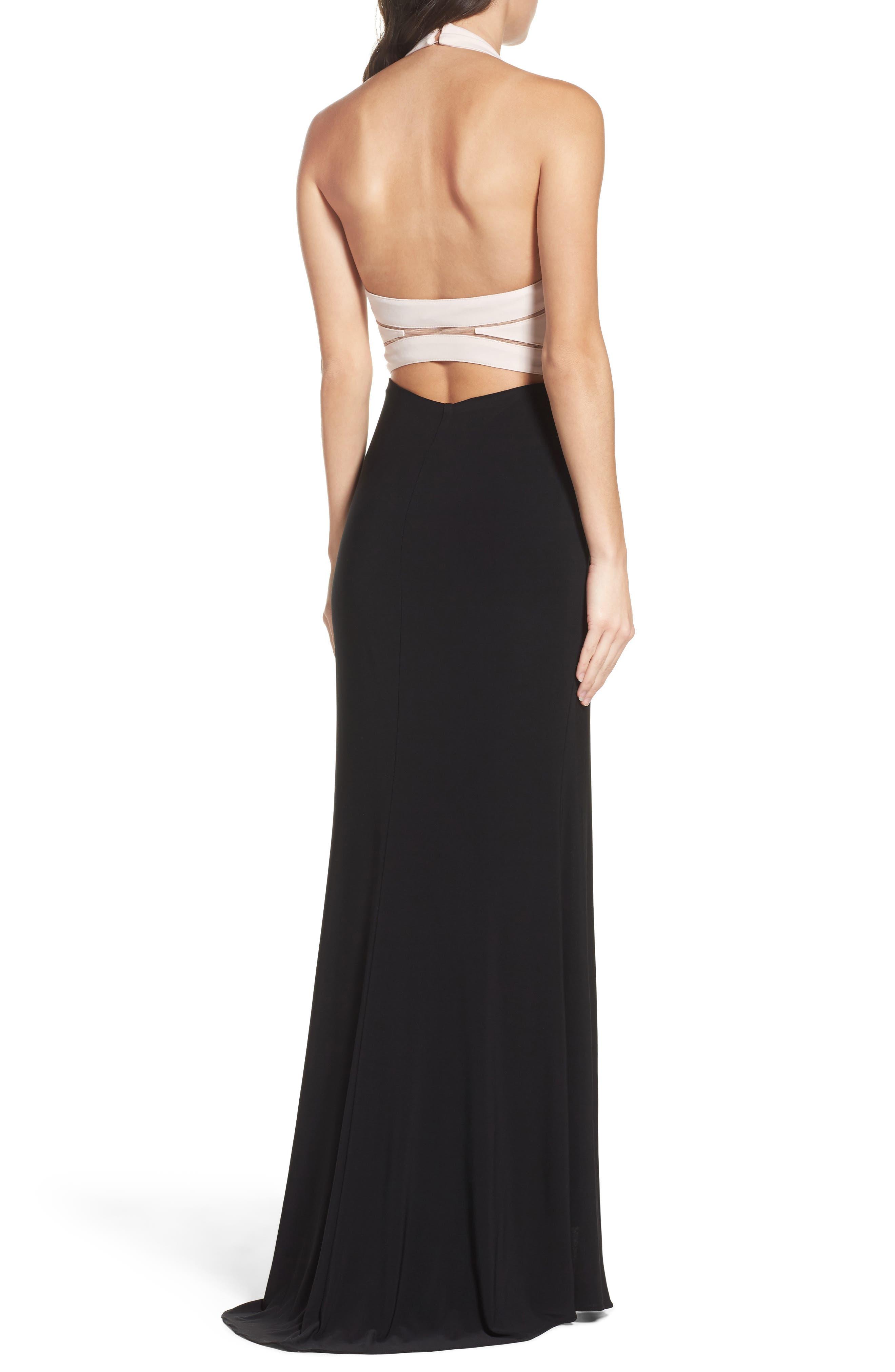 Alternate Image 2  - Xscape Halter Gown
