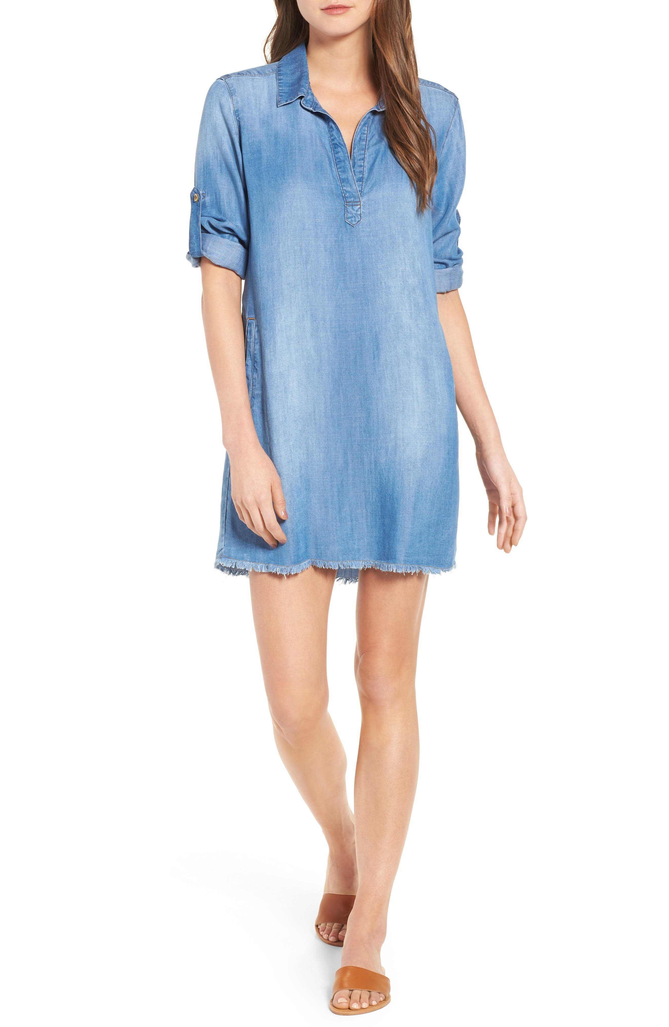 Alternate Image 1 Selected - Side Stitch Frayed Hem Denim Shirtdress
