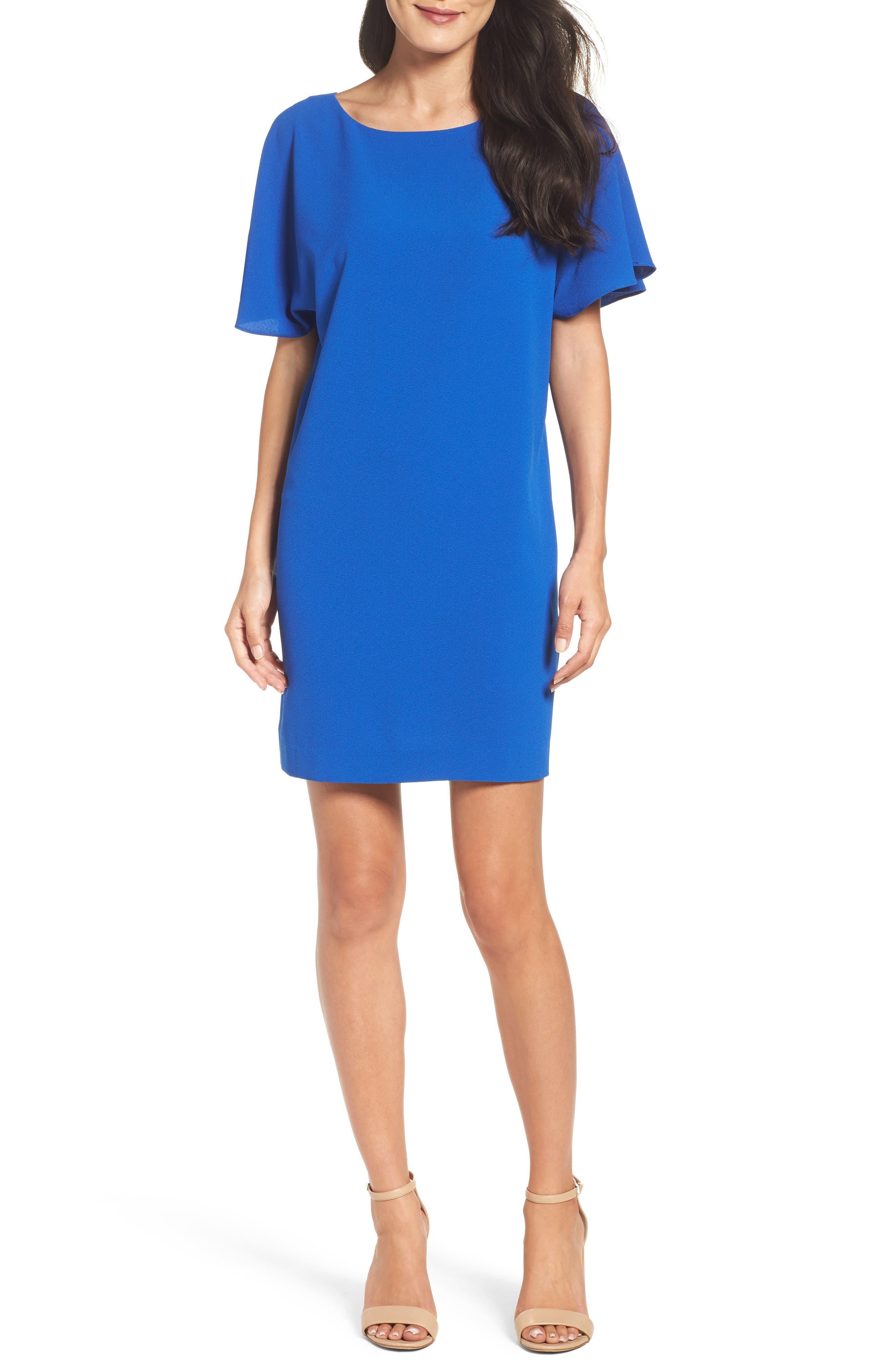 Talia Ruffle Back Shift Dress,                         Main,                         color, Cobalt