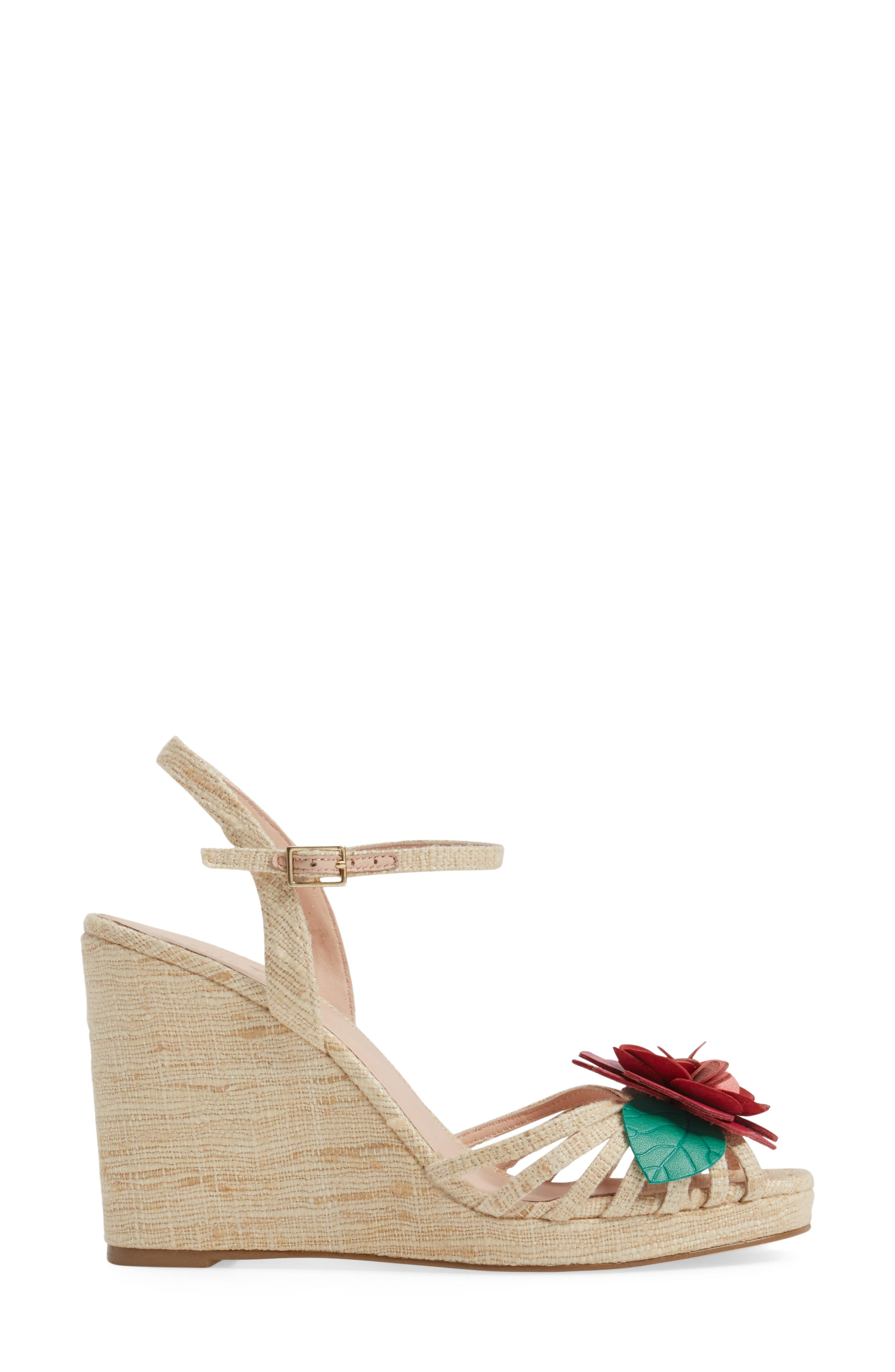 beekman strappy wedge sandal,                             Alternate thumbnail 3, color,                             Natural Raw Silk