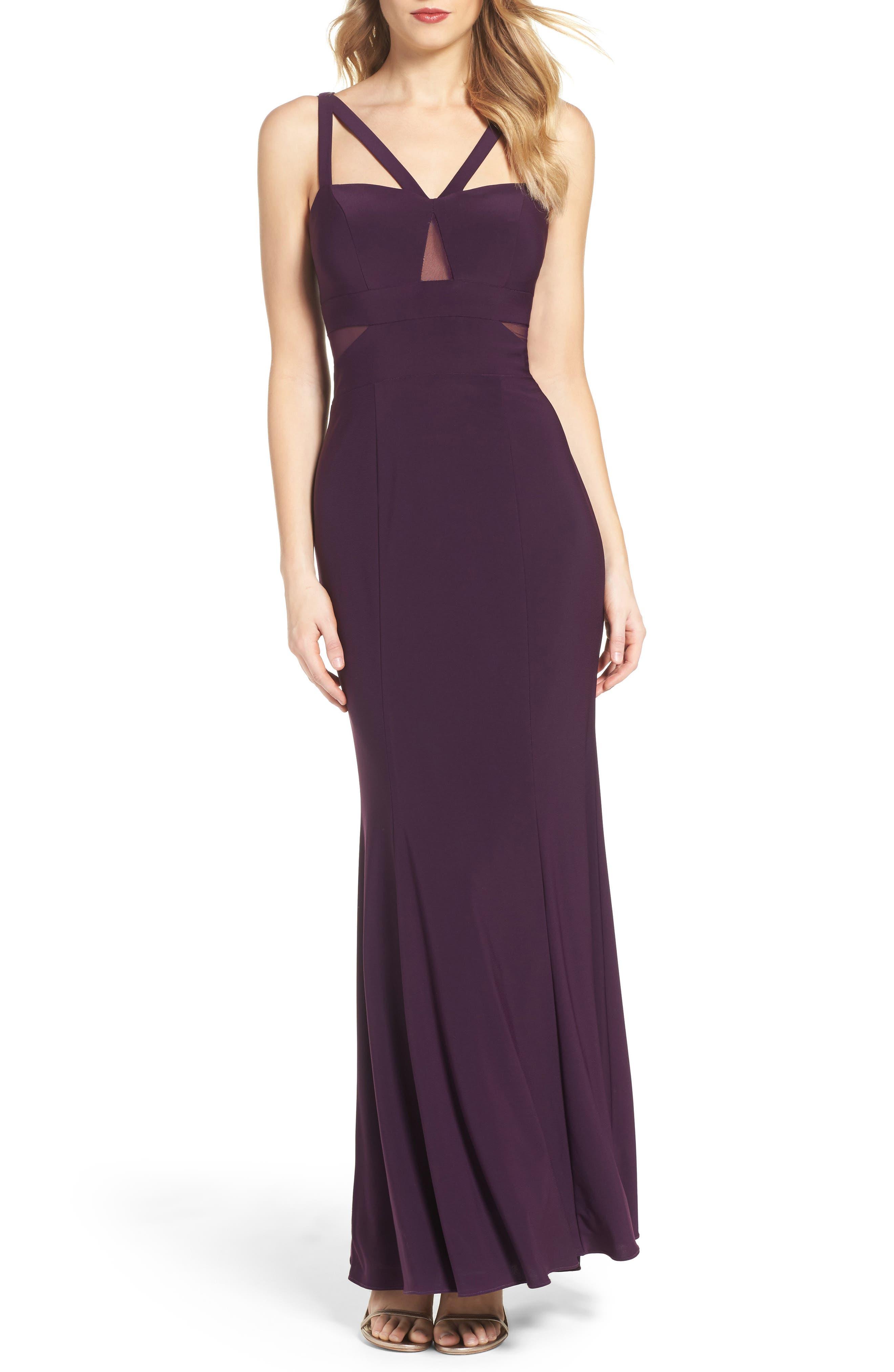 Main Image - Xscape Illusion Inset Gown (Regular & Petite)