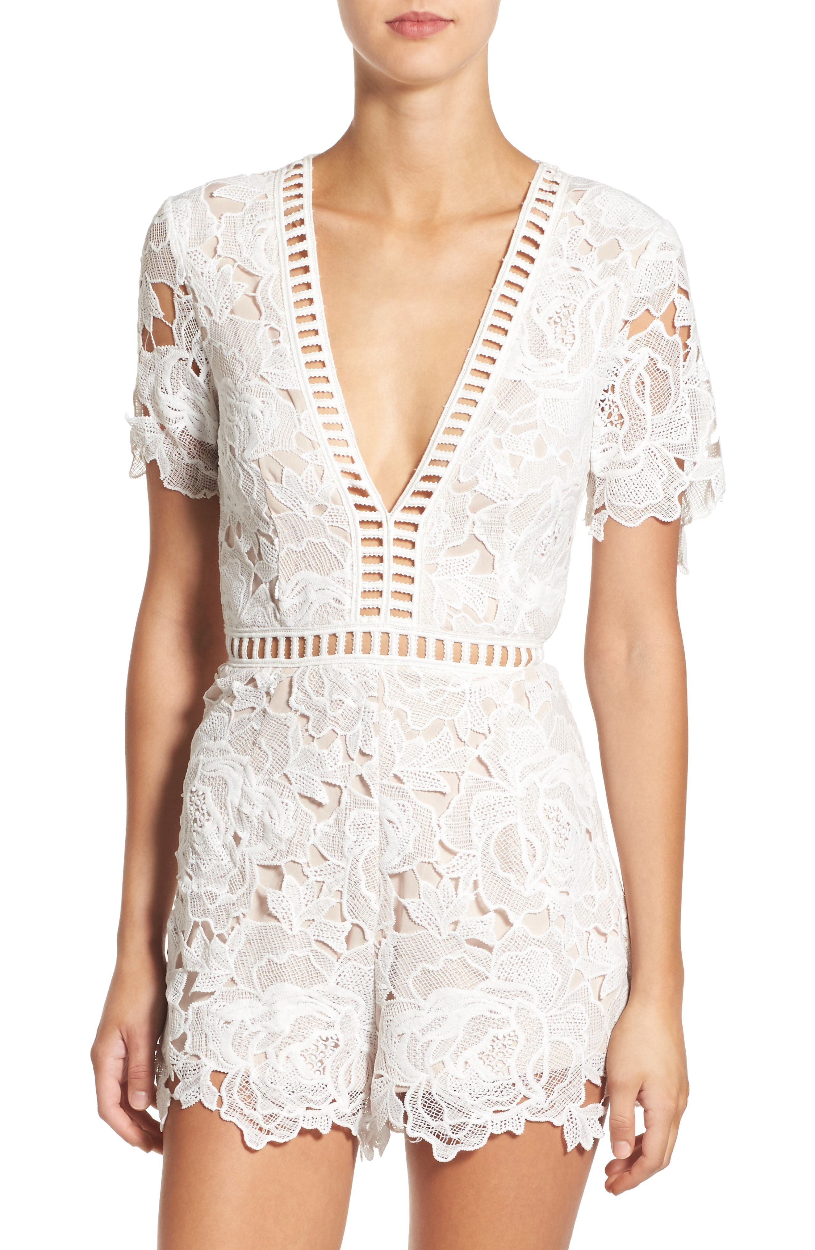 Ladder Inset Lace Romper,                         Main,                         color, White/ Nude