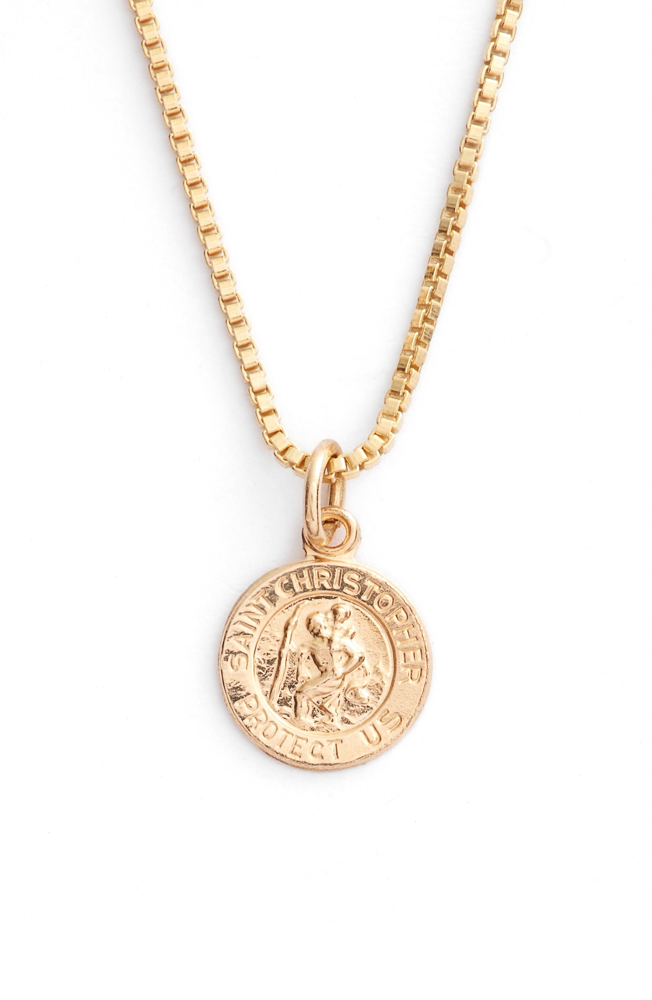 Kardee Kids Saint Christopher 14k Gold Pendant Necklace,                             Alternate thumbnail 2, color,                             Gold