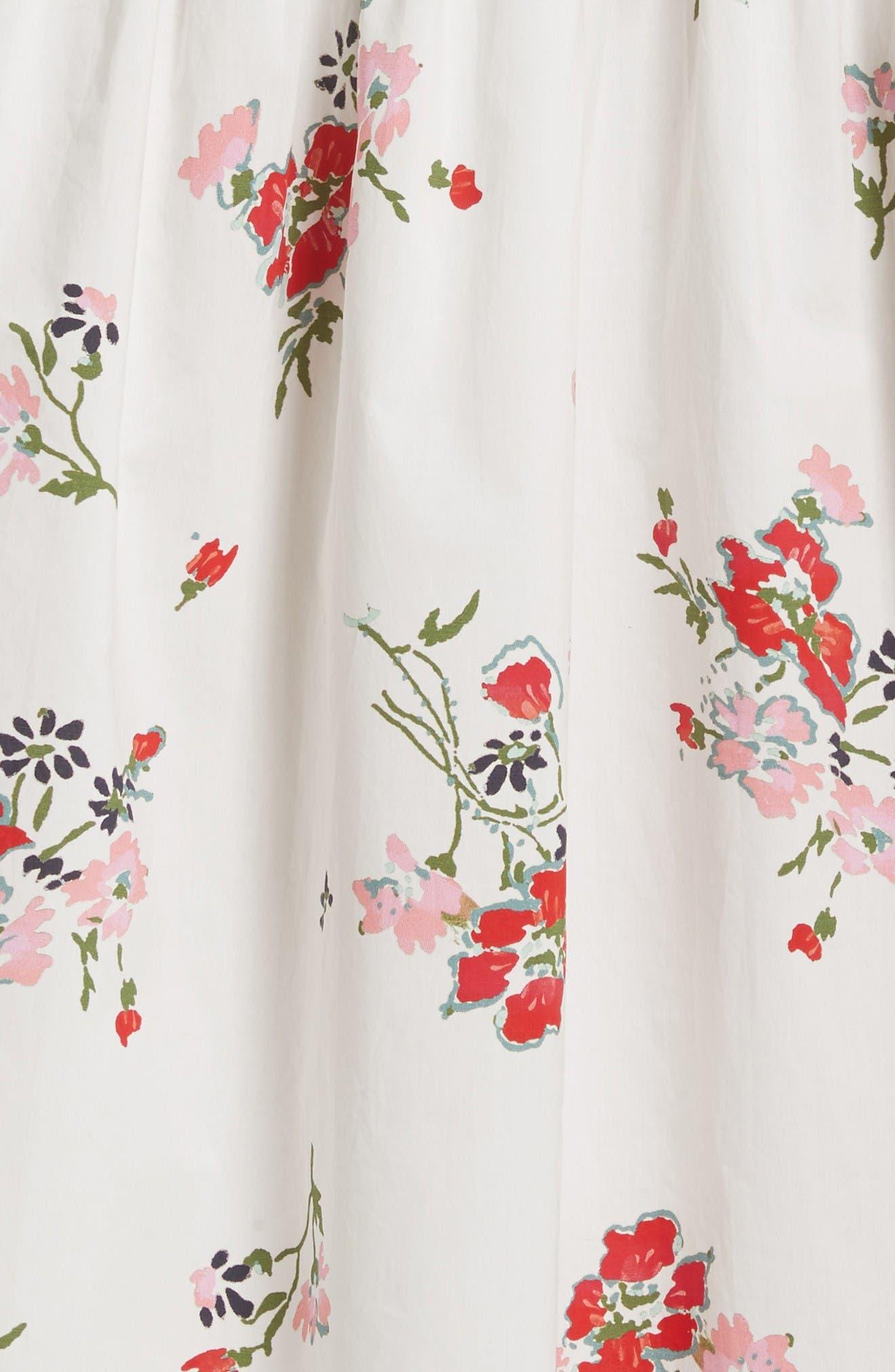 Marguerite Floral Off the Shoulder Midi Dress,                             Alternate thumbnail 6, color,                             Snow