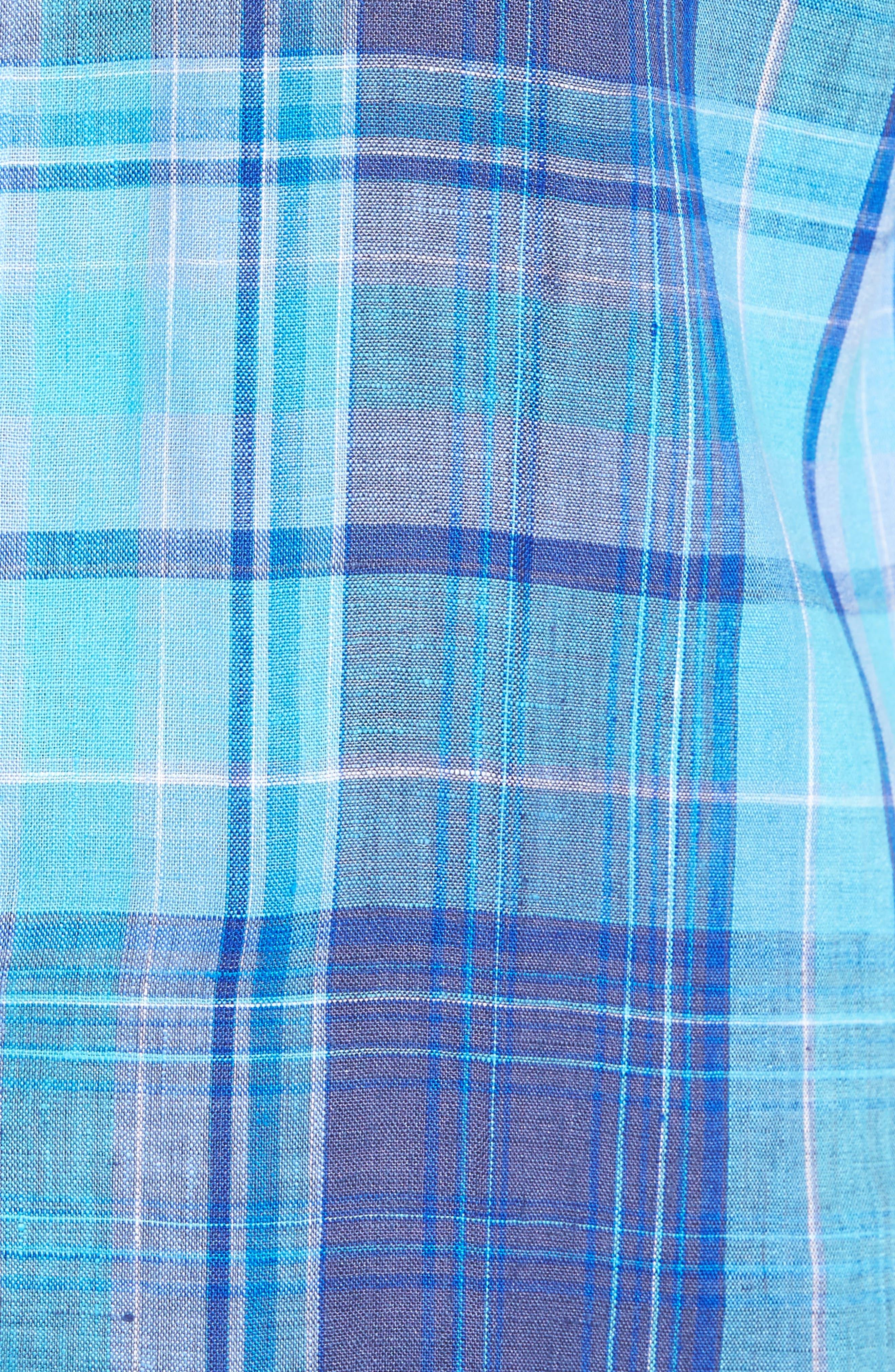 Alternate Image 5  - Bugatchi Shaped Fit Linen Sport Shirt