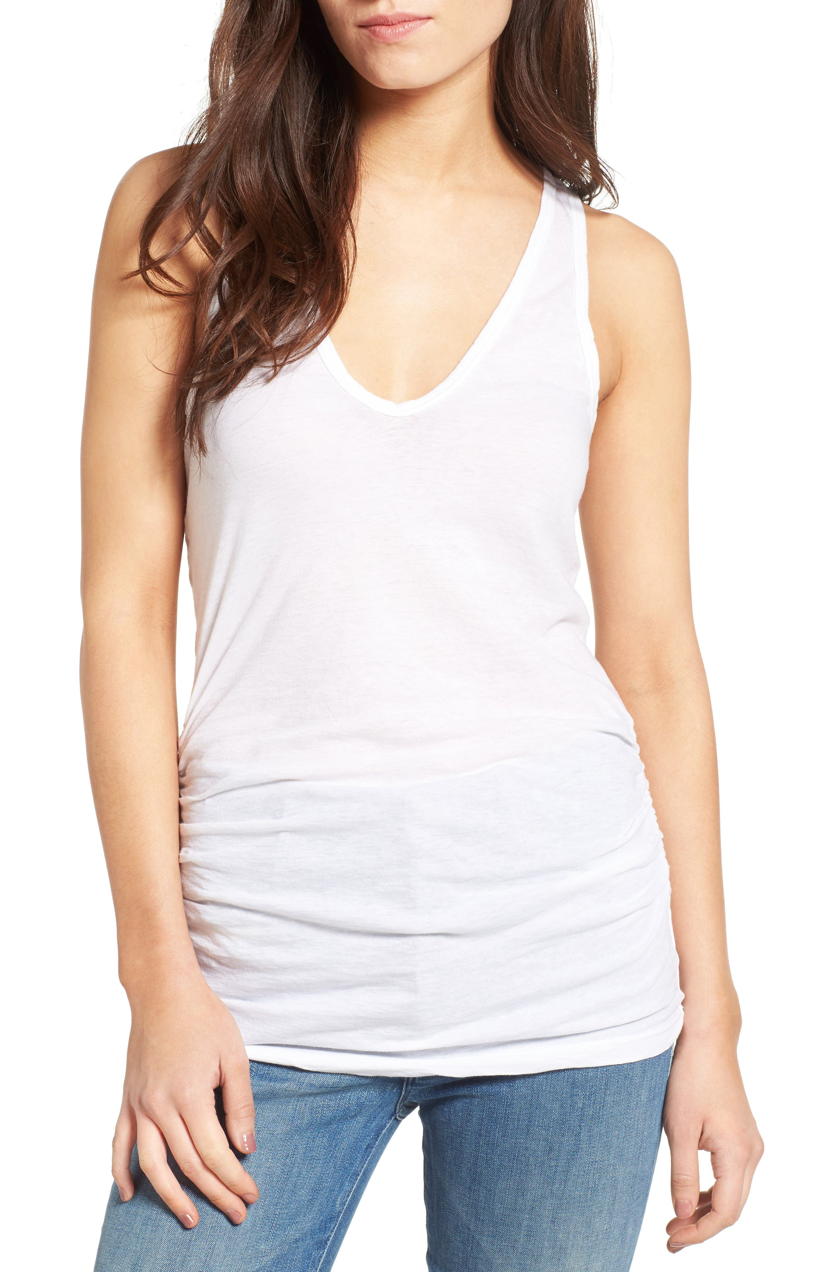Skinny Ruched Cotton Tank,                         Main,                         color, White