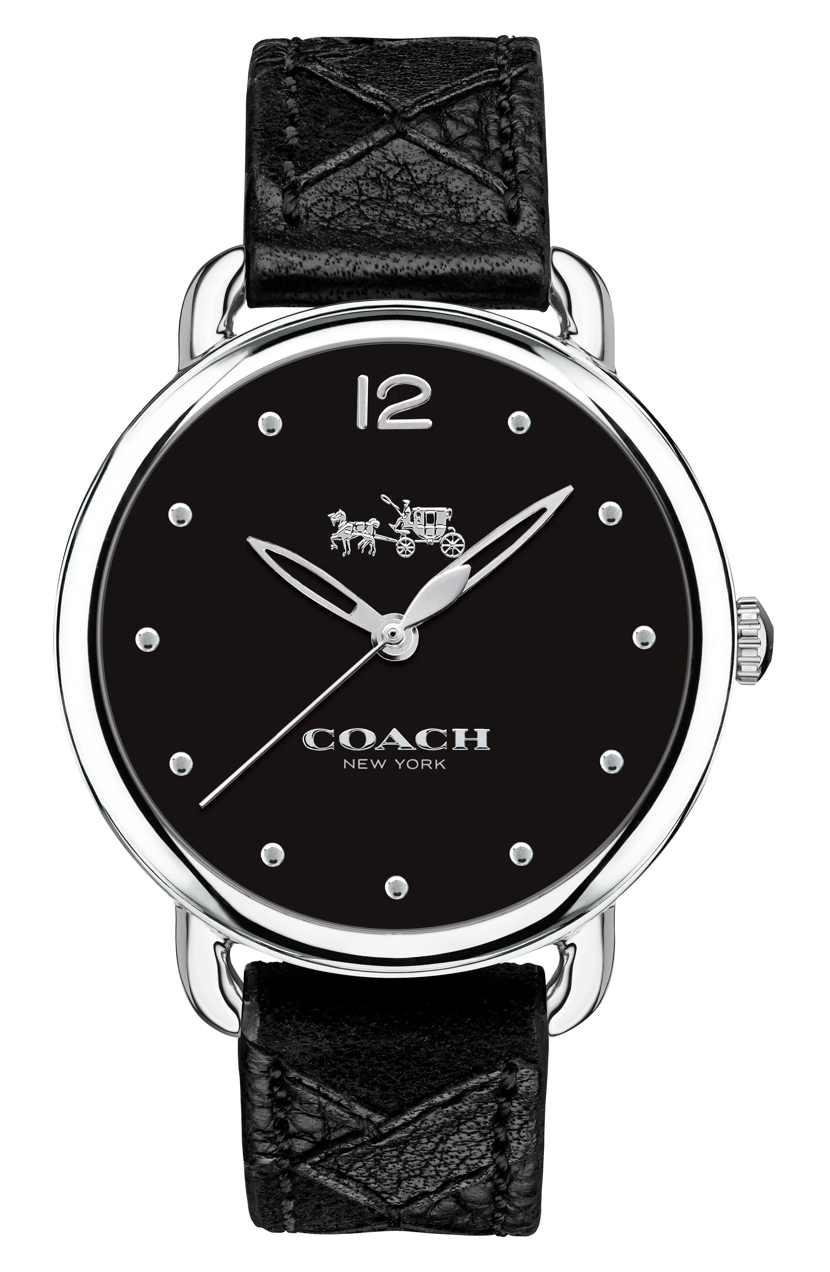 Delancey Leather Strap Watch, 36mm,                         Main,                         color, Black/ Silver
