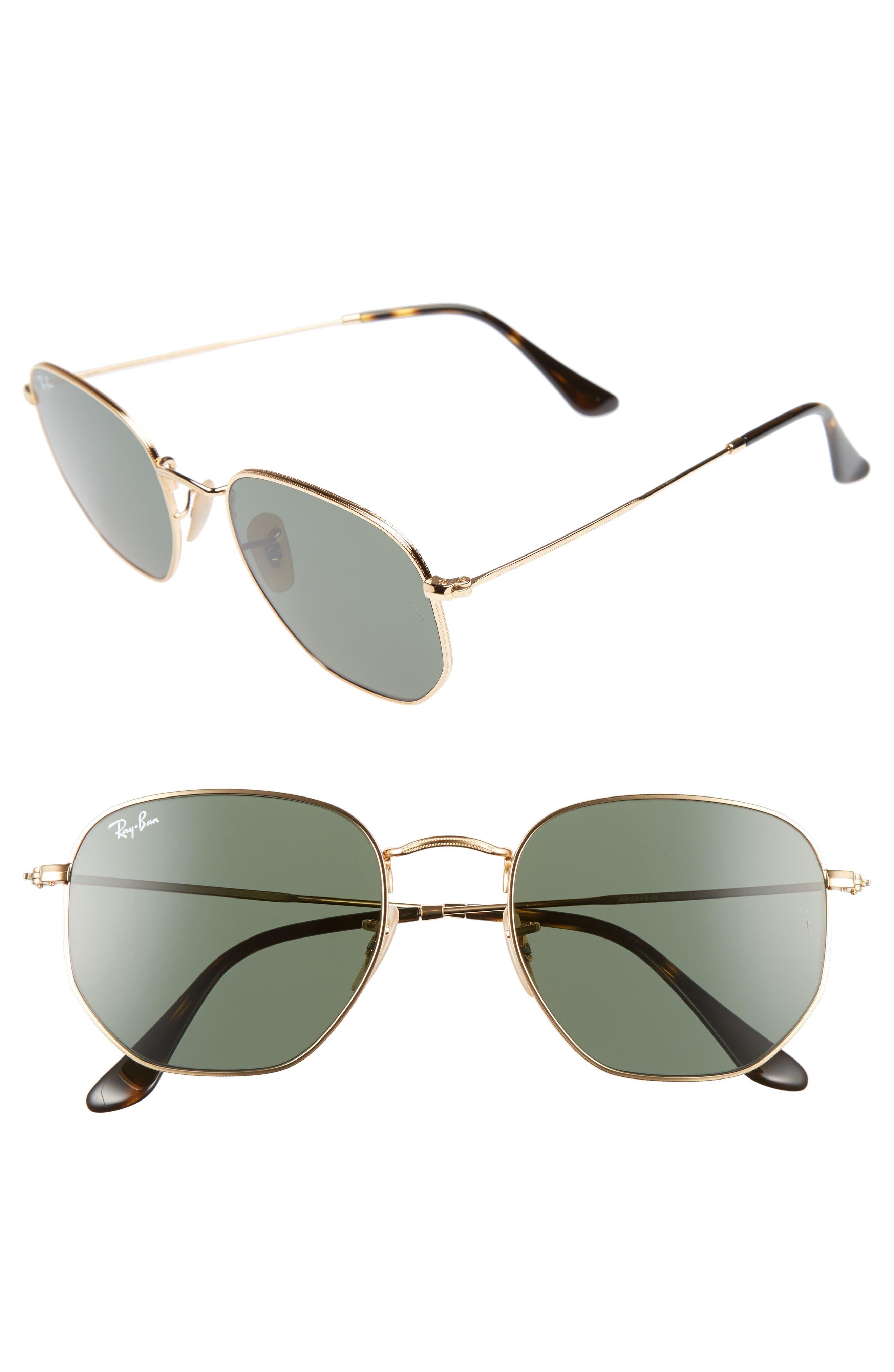 54mm Aviator Sunglasses,                             Main thumbnail 1, color,                             Gold/ Green