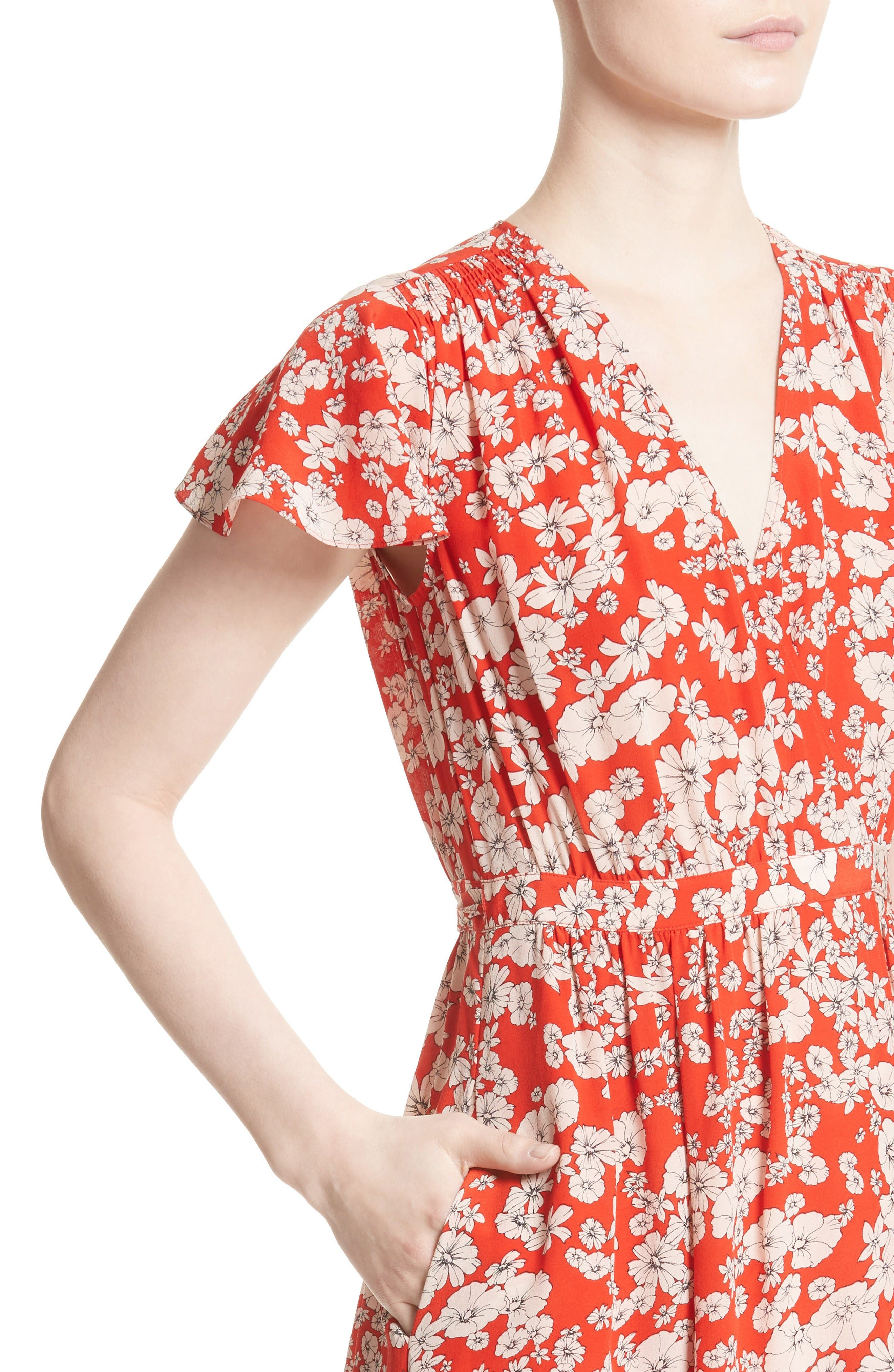 Cherry Blossom Silk Wrap Dress,                             Alternate thumbnail 4, color,                             Candy Apple Combo