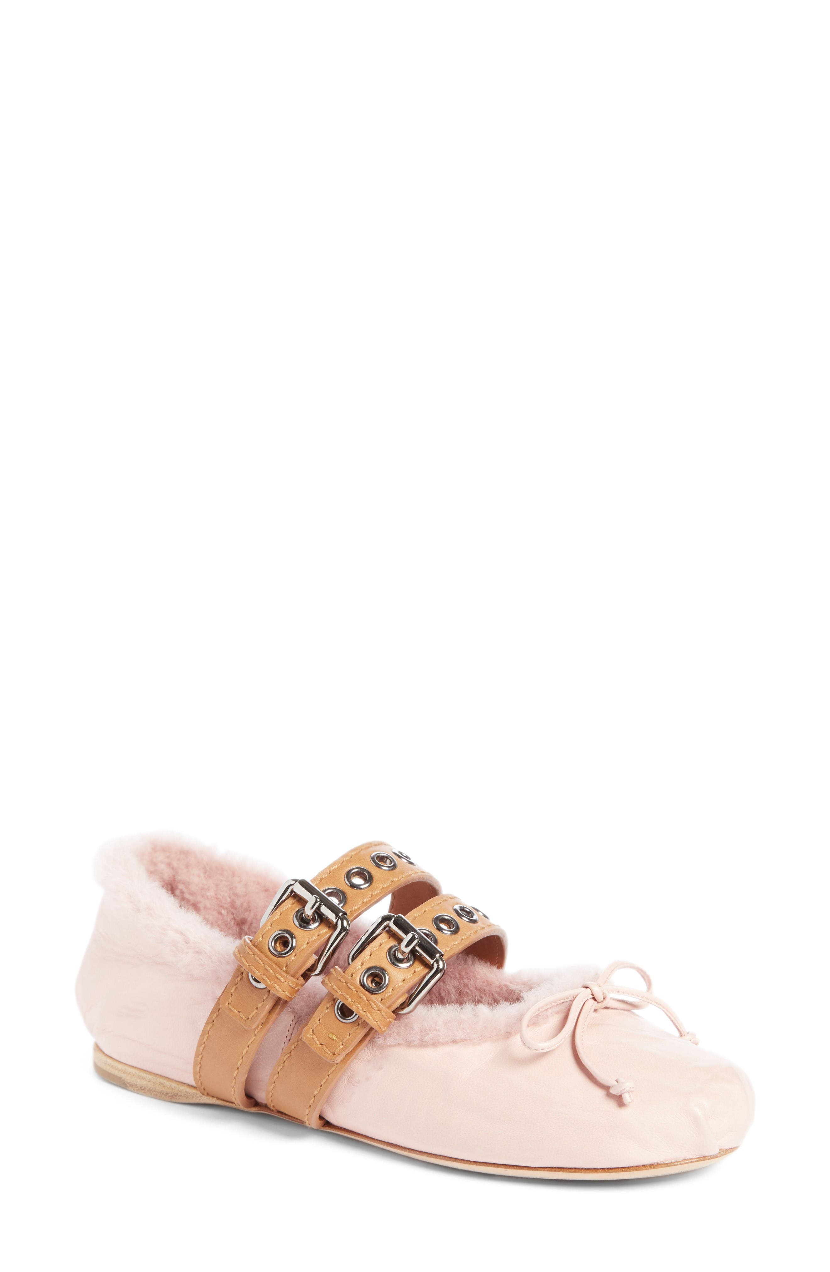 Mu Miu Genuine Rabbit Fur Double Buckle Flat (Women)