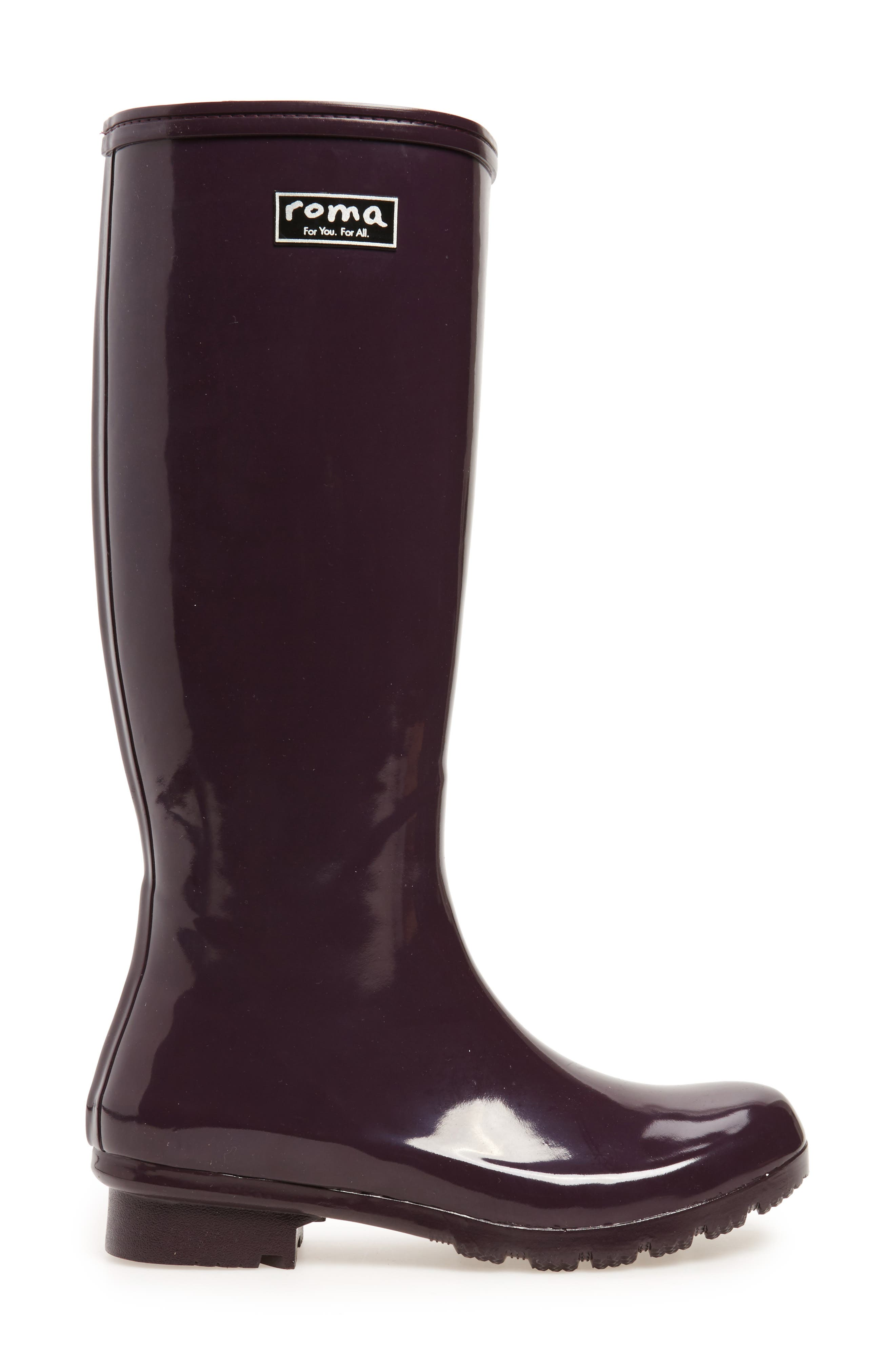 Classic Glossy Rain Boot,                             Alternate thumbnail 3, color,                             Eggplant