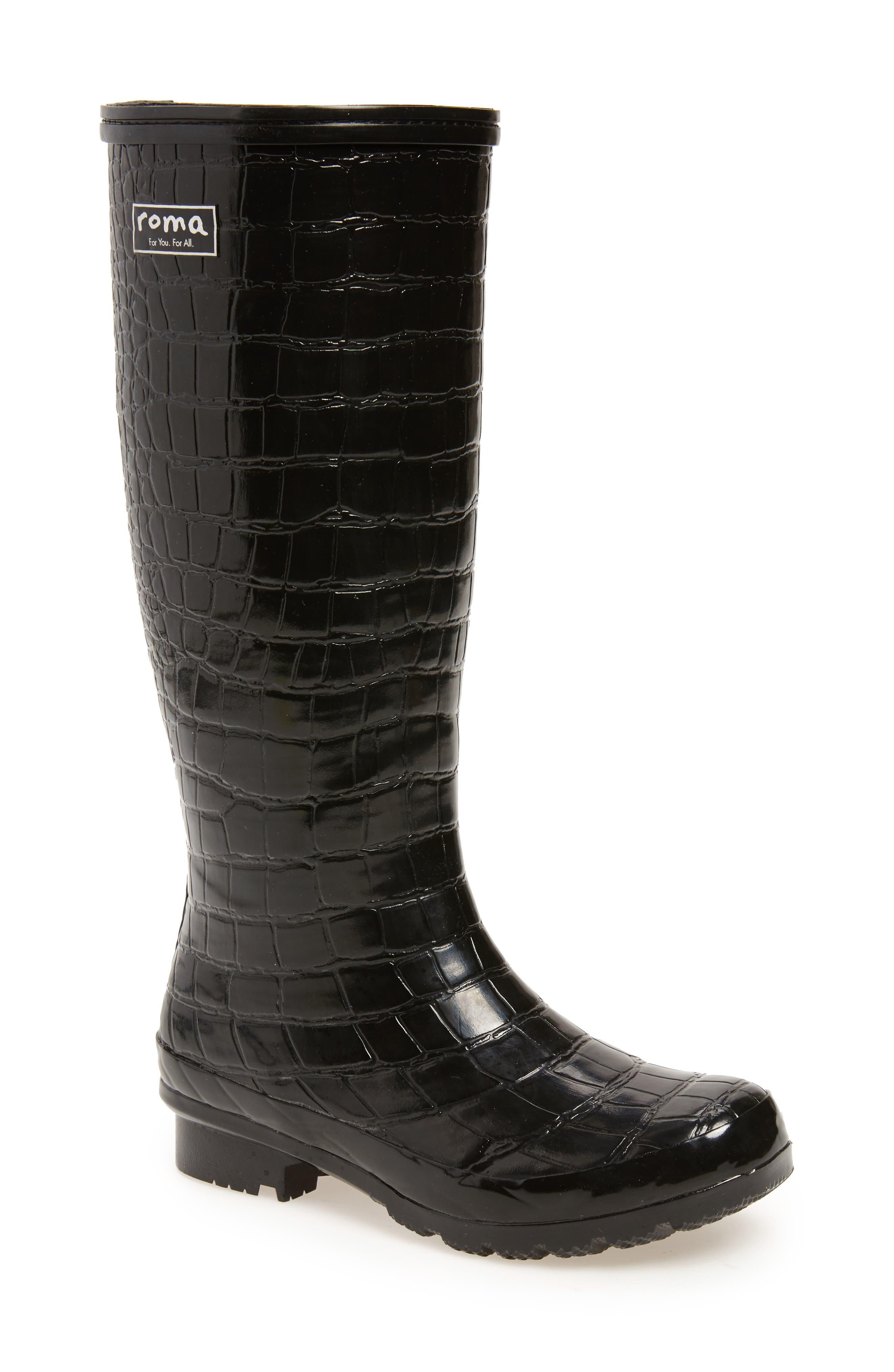 Classic Glossy Rain Boot,                             Main thumbnail 1, color,                             Black Croc