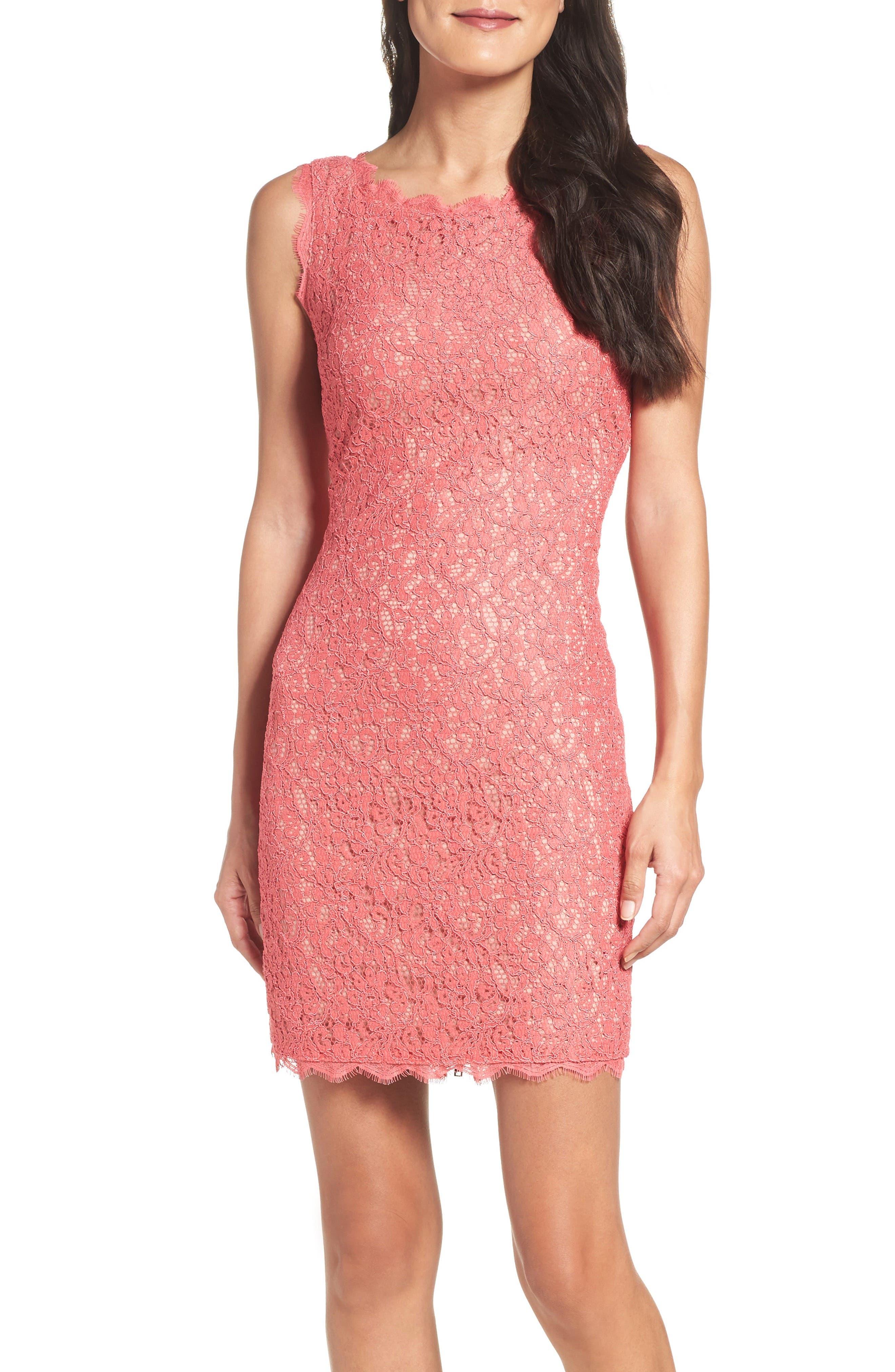 Alternate Image 4  - Adrianna Papell Boatneck Lace Sheath Dress (Regular & Petite)