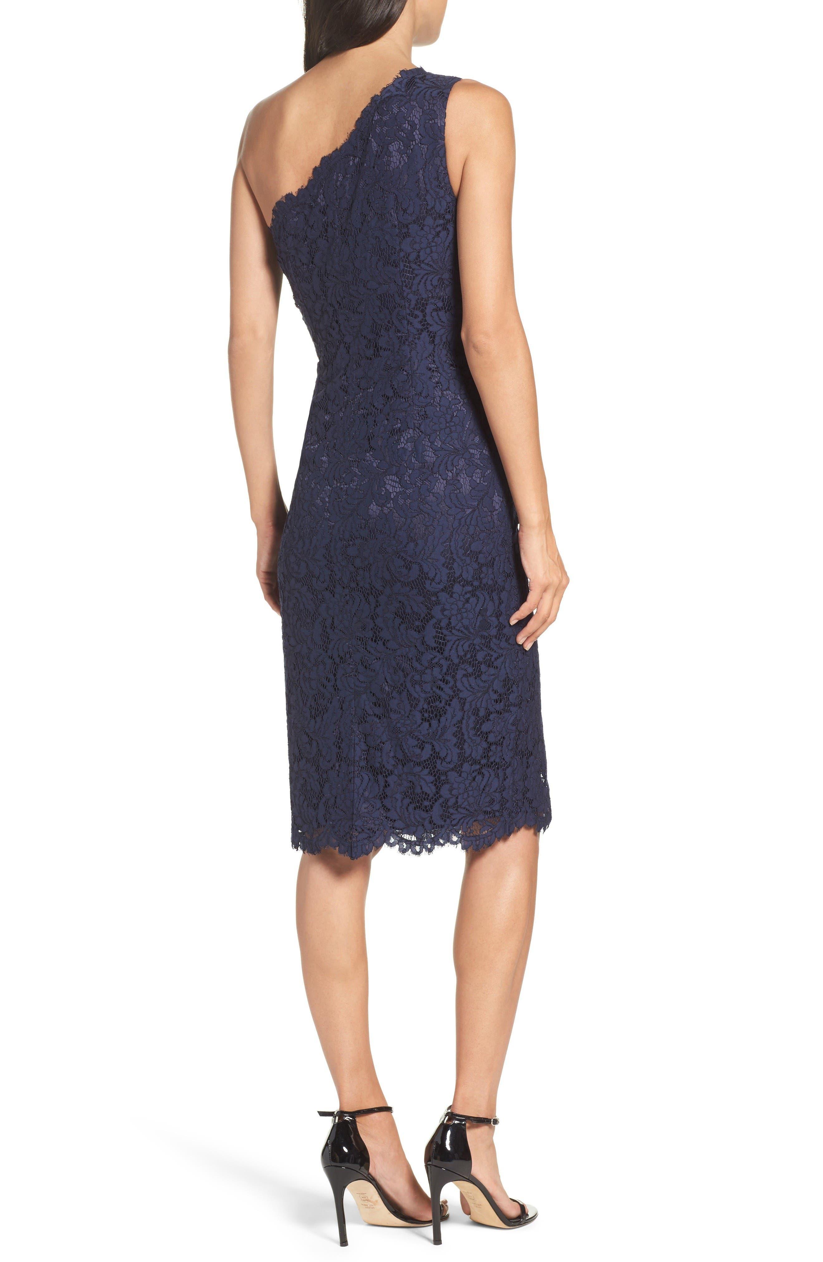 One-Shoulder Lace Dress,                             Alternate thumbnail 2, color,                             Navy