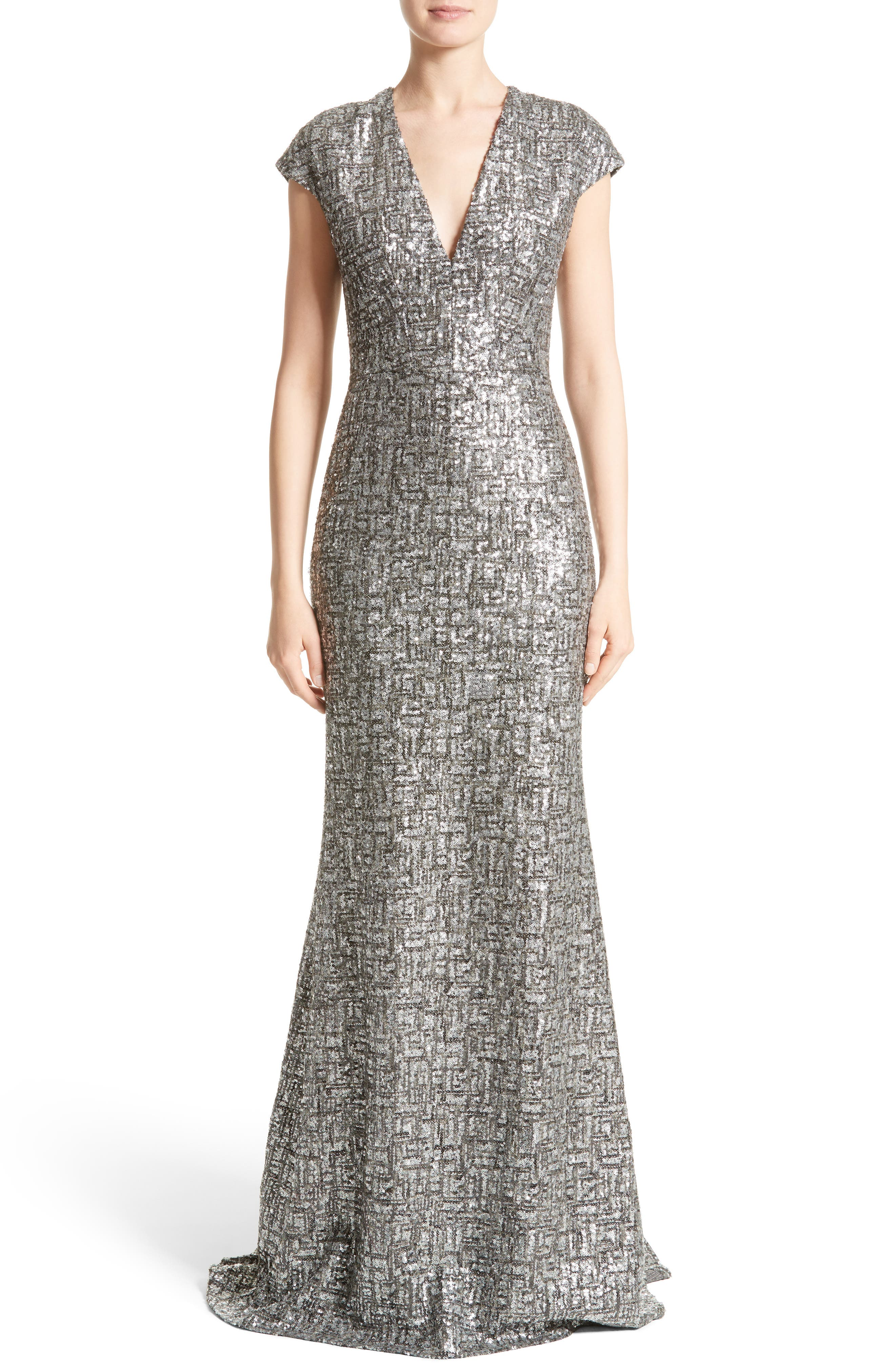Carmen Marc Valvo Couture V-Neck Sequin Trumpet Gown