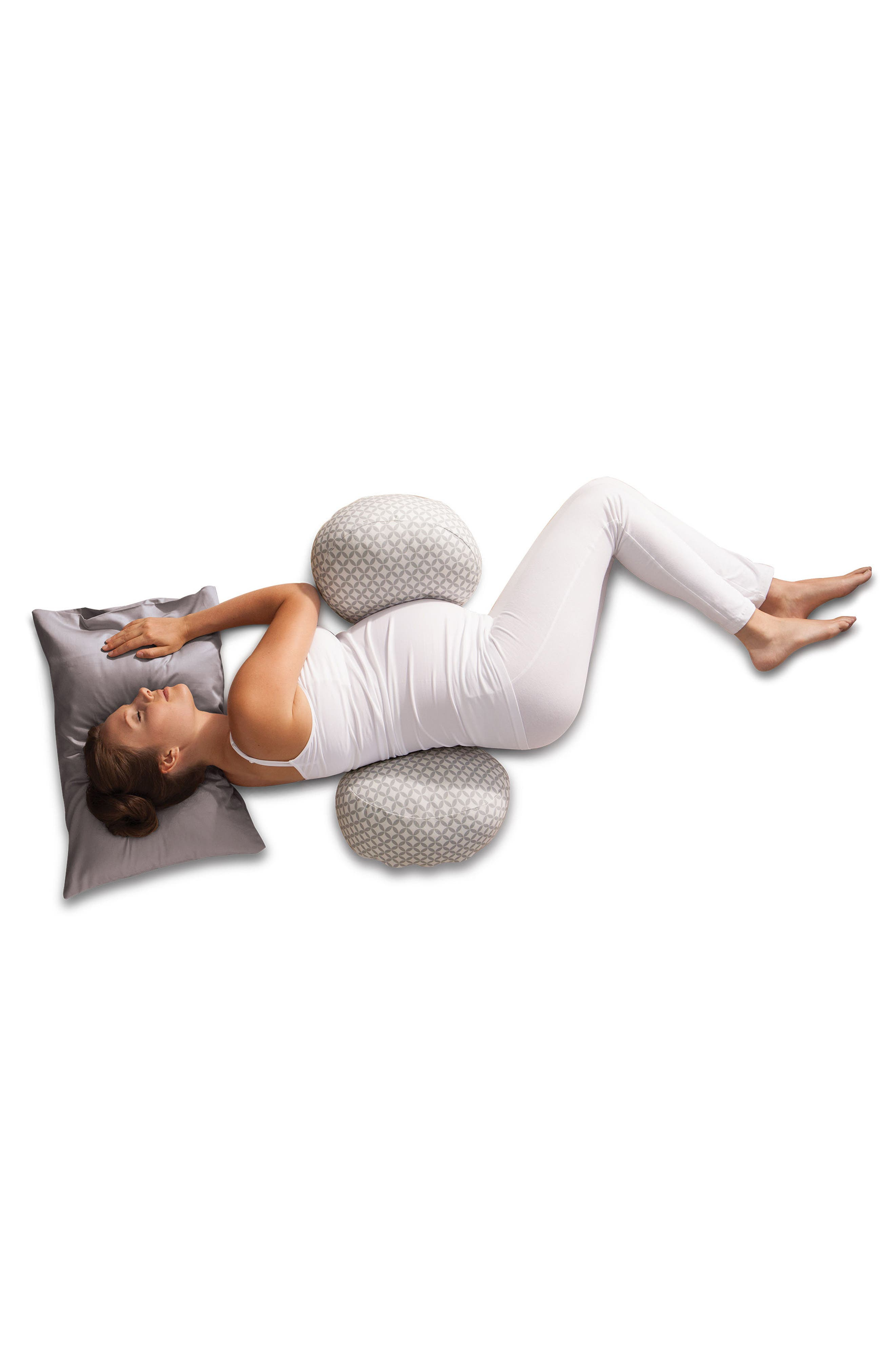 Bump & Back Support Pillow,                             Alternate thumbnail 2, color,                             White/ Grey Geo