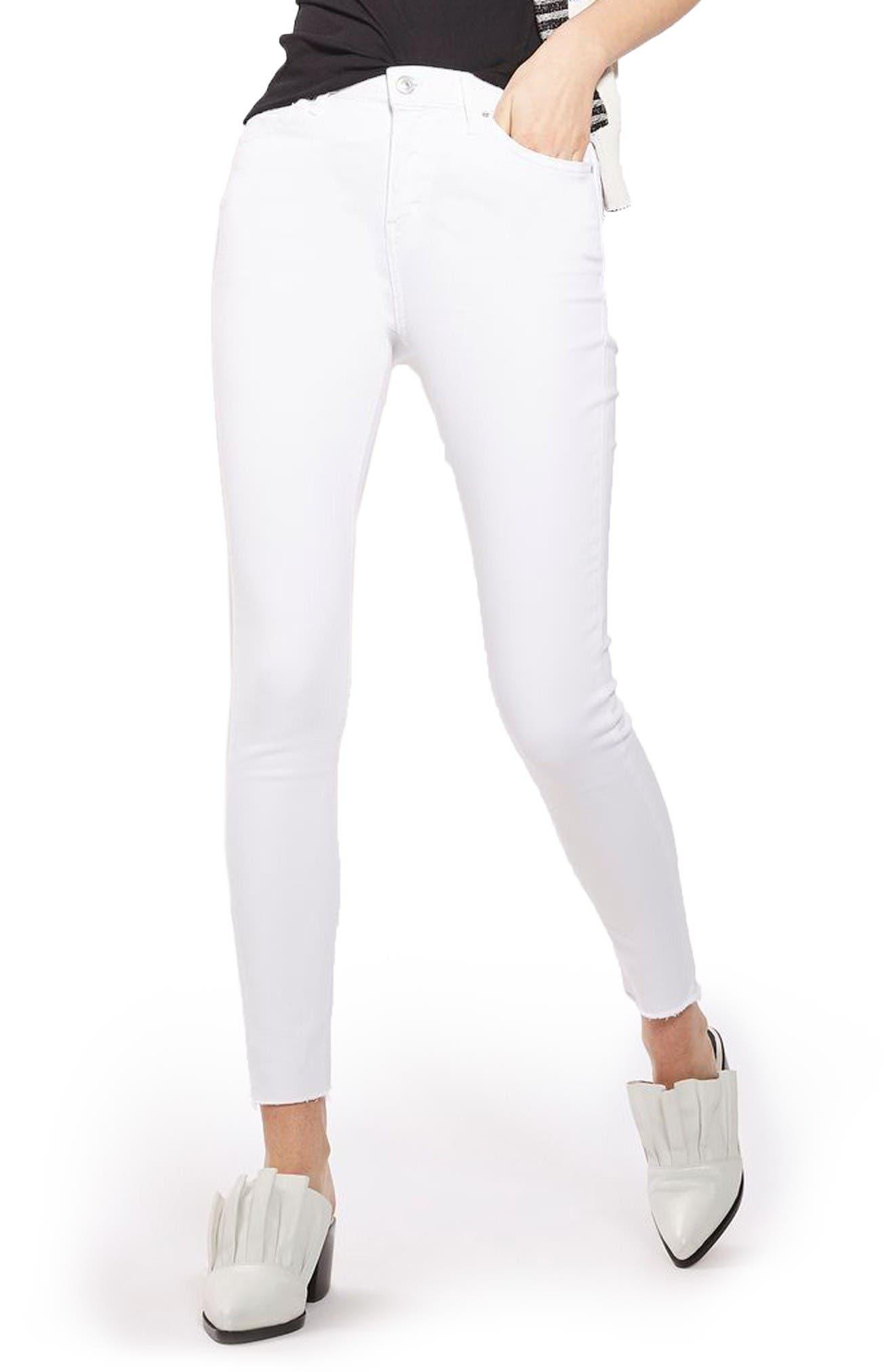 Jamie Raw Hem Skinny Jeans,                             Main thumbnail 1, color,                             White