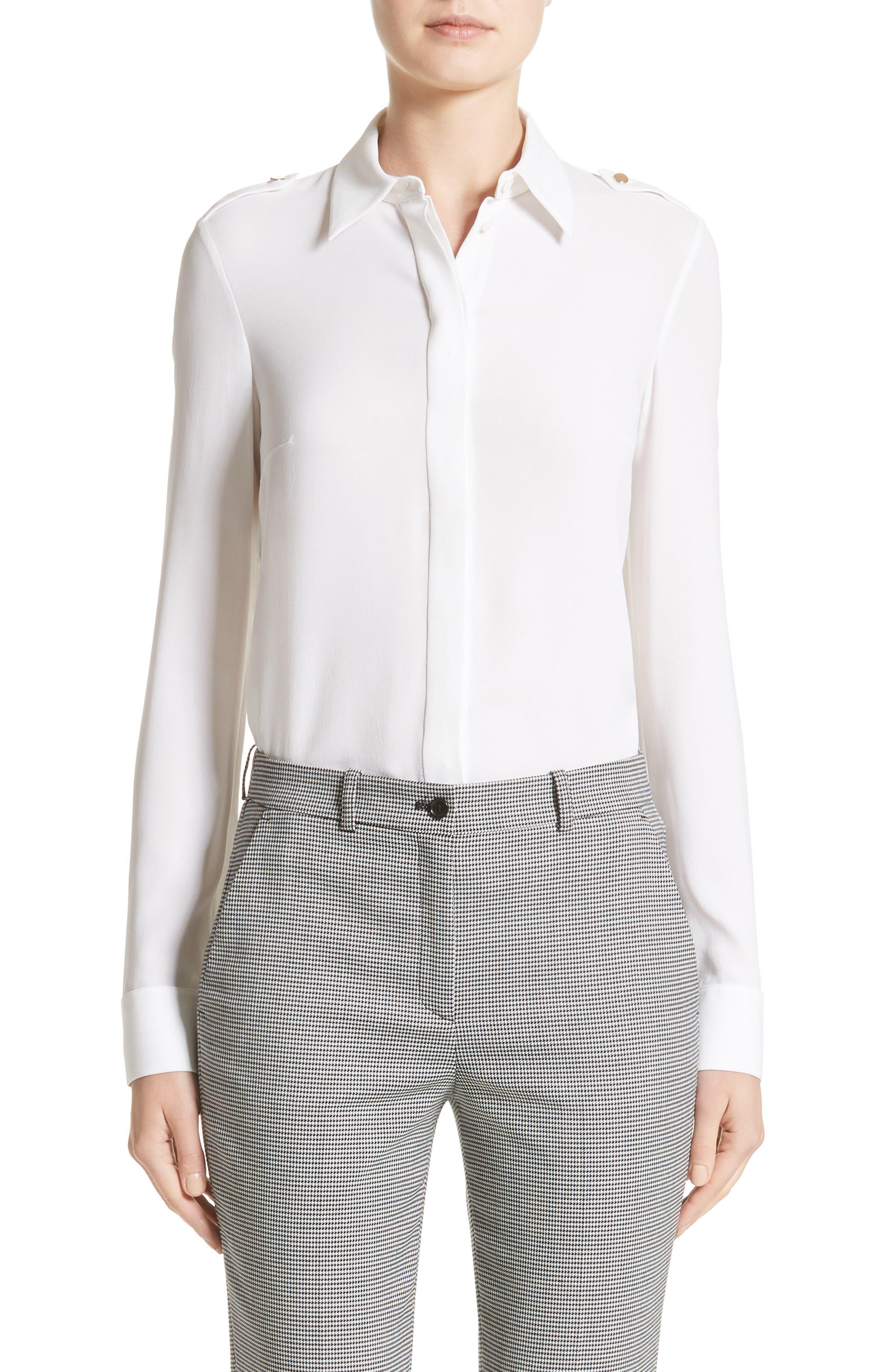 Michael Kors Silk Georgette Epaulet Shirt
