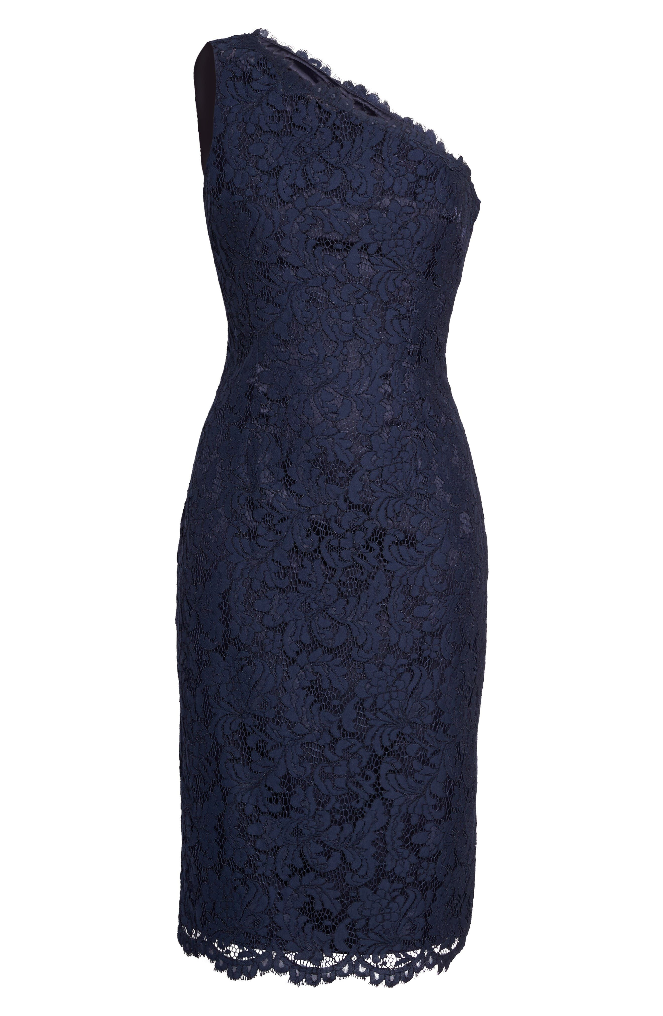 One-Shoulder Lace Dress,                             Alternate thumbnail 7, color,                             Navy