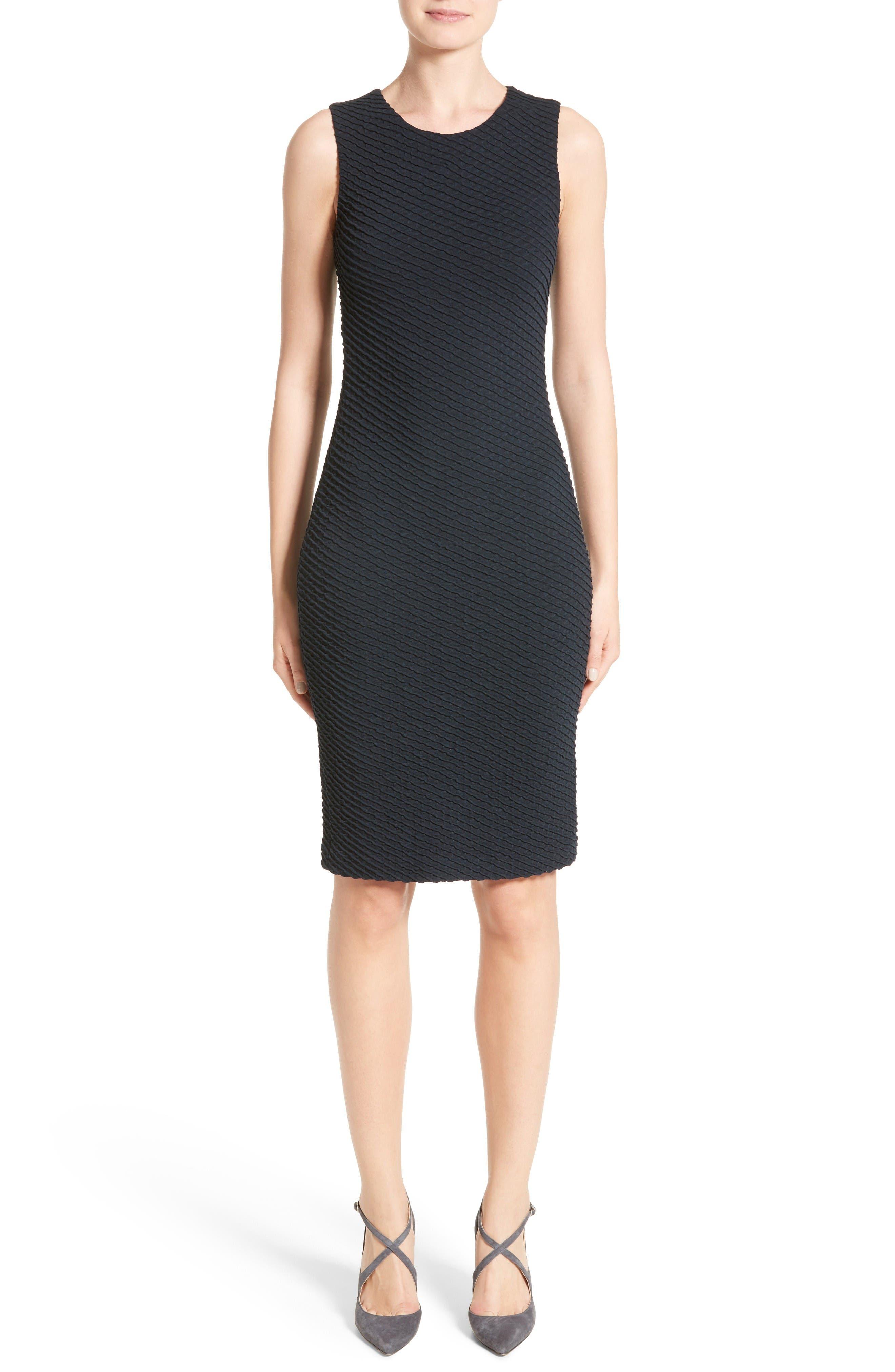 Armani Collezioni Diagonal Jacquard Sheath Dress