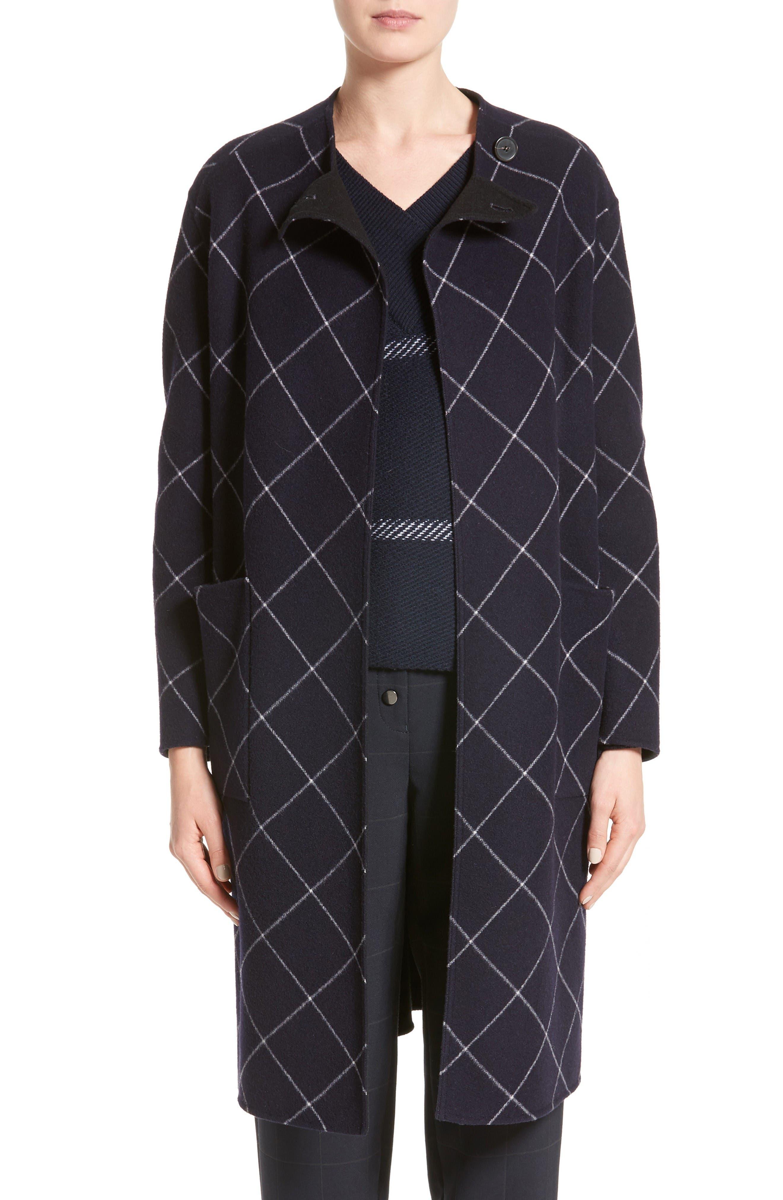 Windowpane Wool & Cashmere Wrap Coat,                         Main,                         color, Navy Multi
