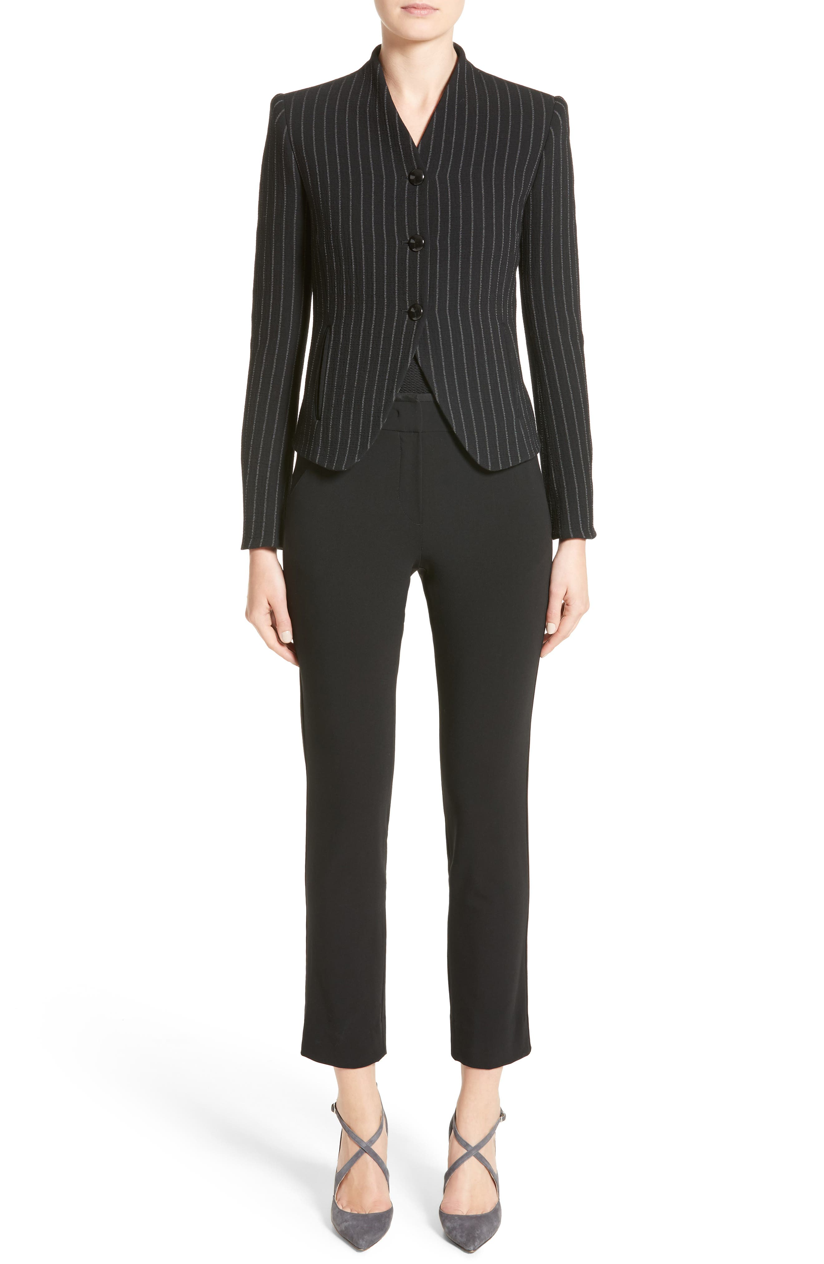 Stretch Wool Pinstripe Jacket,                             Alternate thumbnail 7, color,                             Black Grey Multi