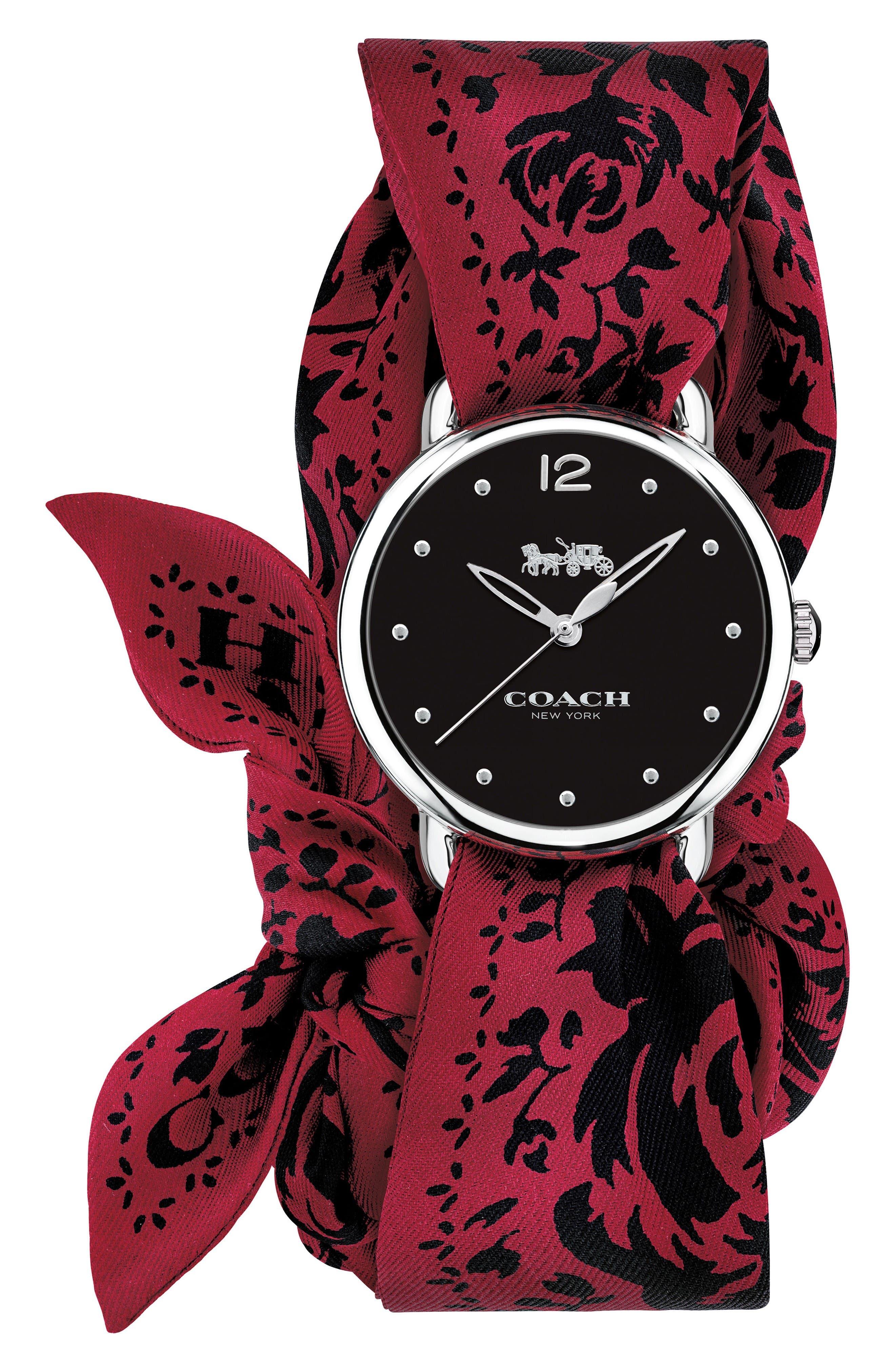 COACH Delancey Silk Scarf Wrap Watch, 36mm