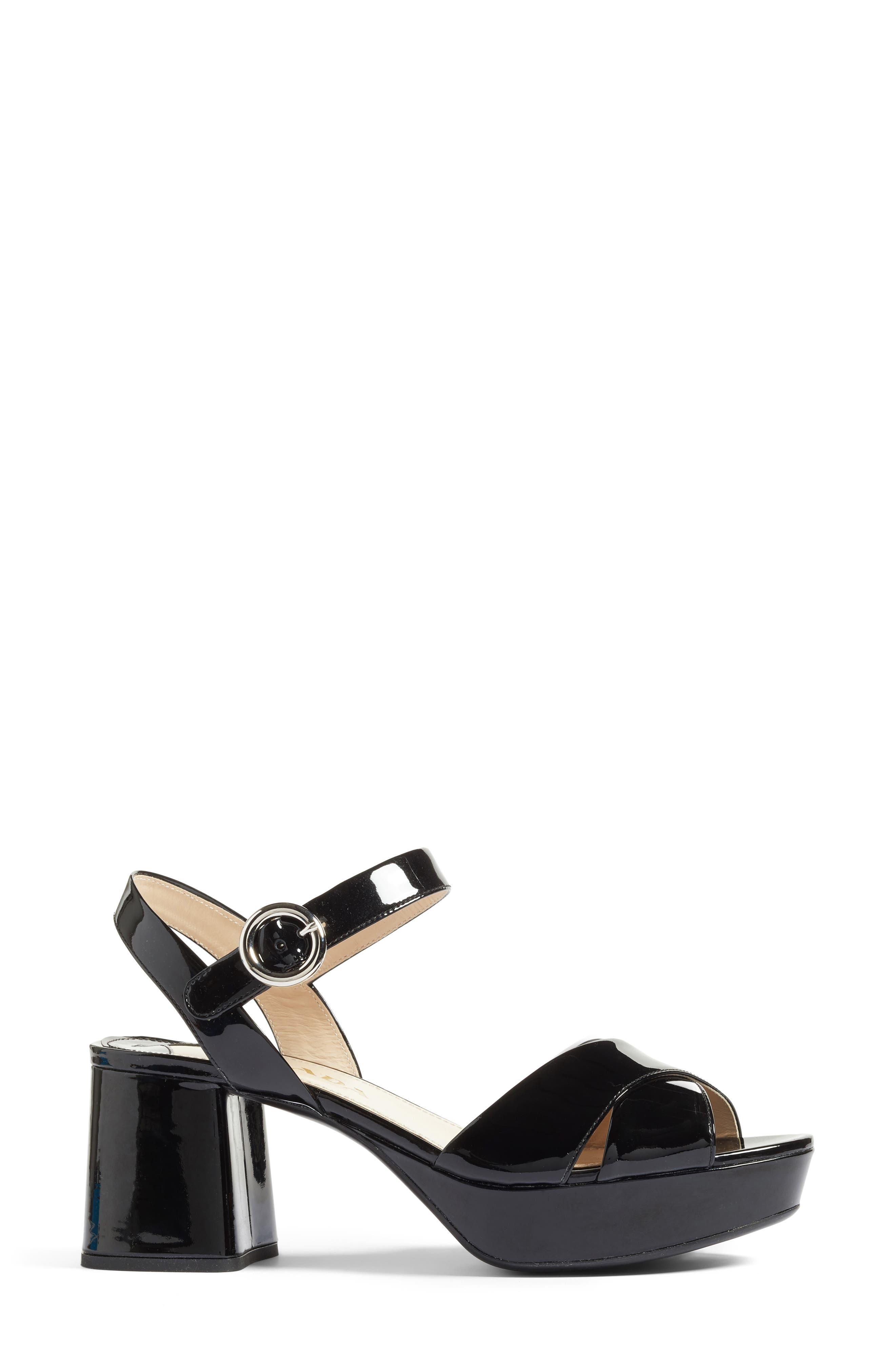 Strappy Platform Sandal,                             Alternate thumbnail 3, color,                             Black Patent