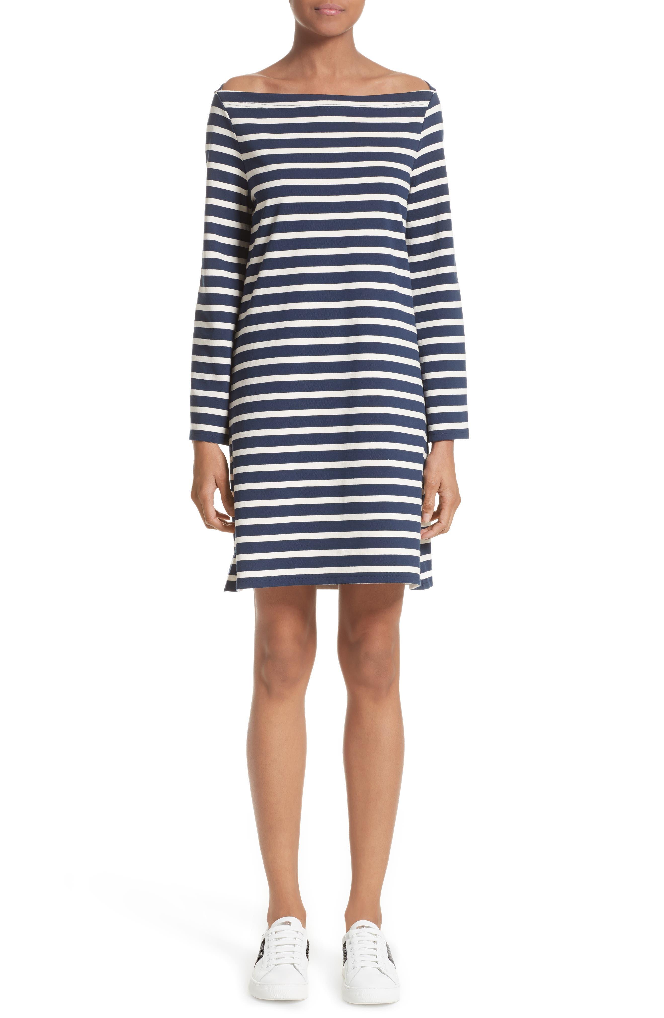 Reverse Breton Stripe Dress,                             Main thumbnail 1, color,                             Navy/ Ecru