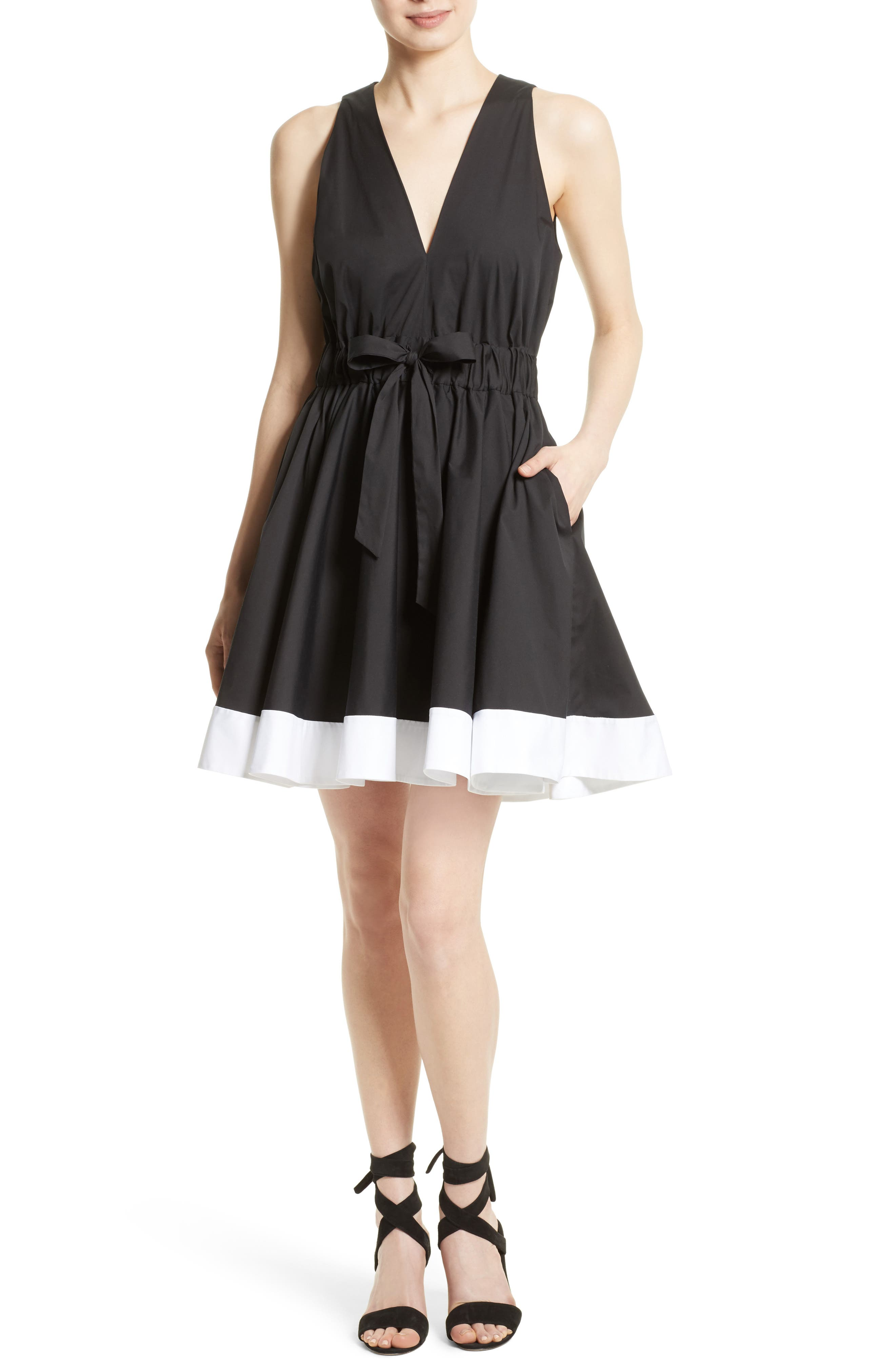 Lola Stretch Poplin Skater Dress,                             Main thumbnail 1, color,                             Black/ White