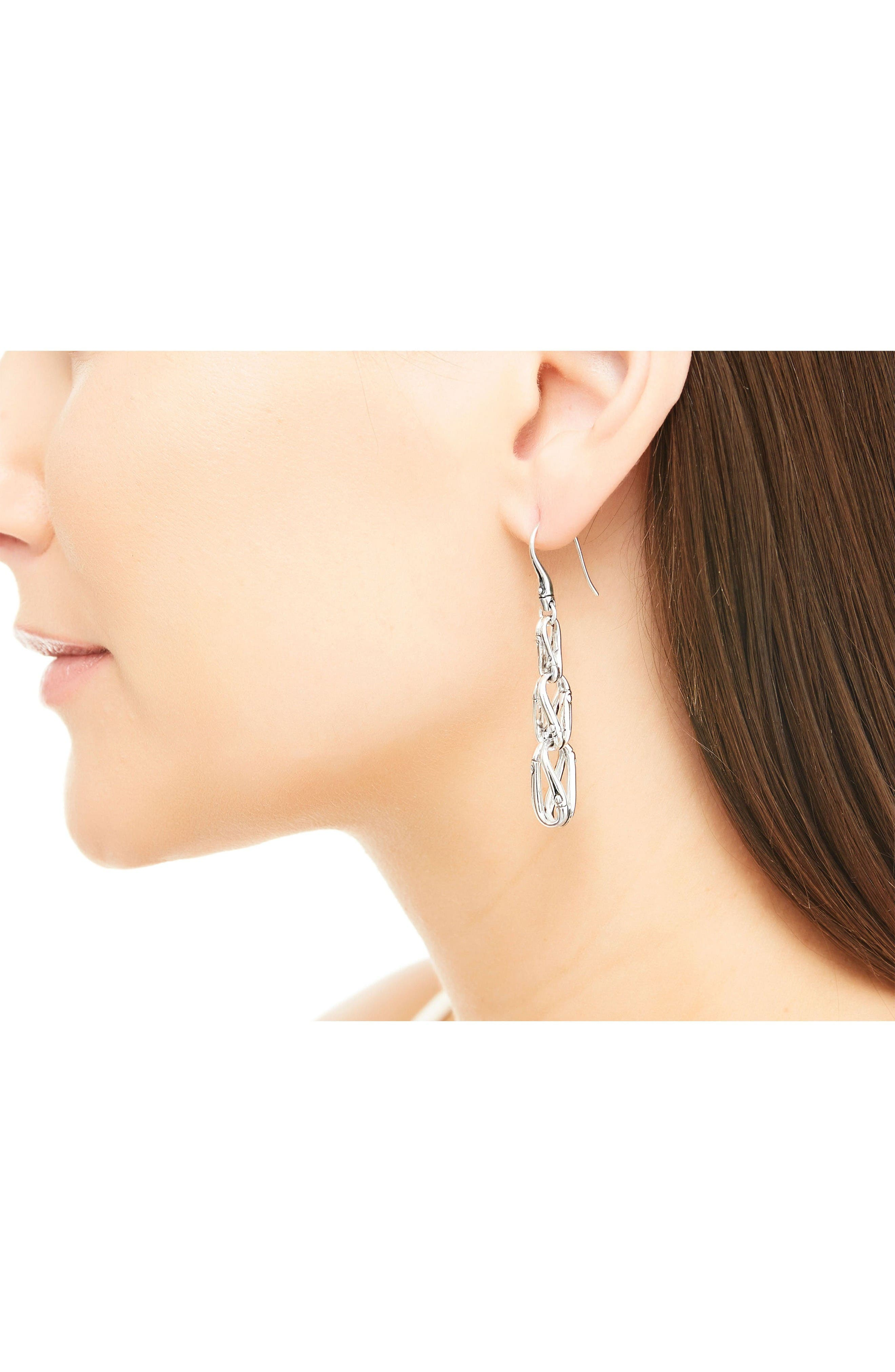 Silver Bamboo Drop Earrings,                             Alternate thumbnail 2, color,                             Silver