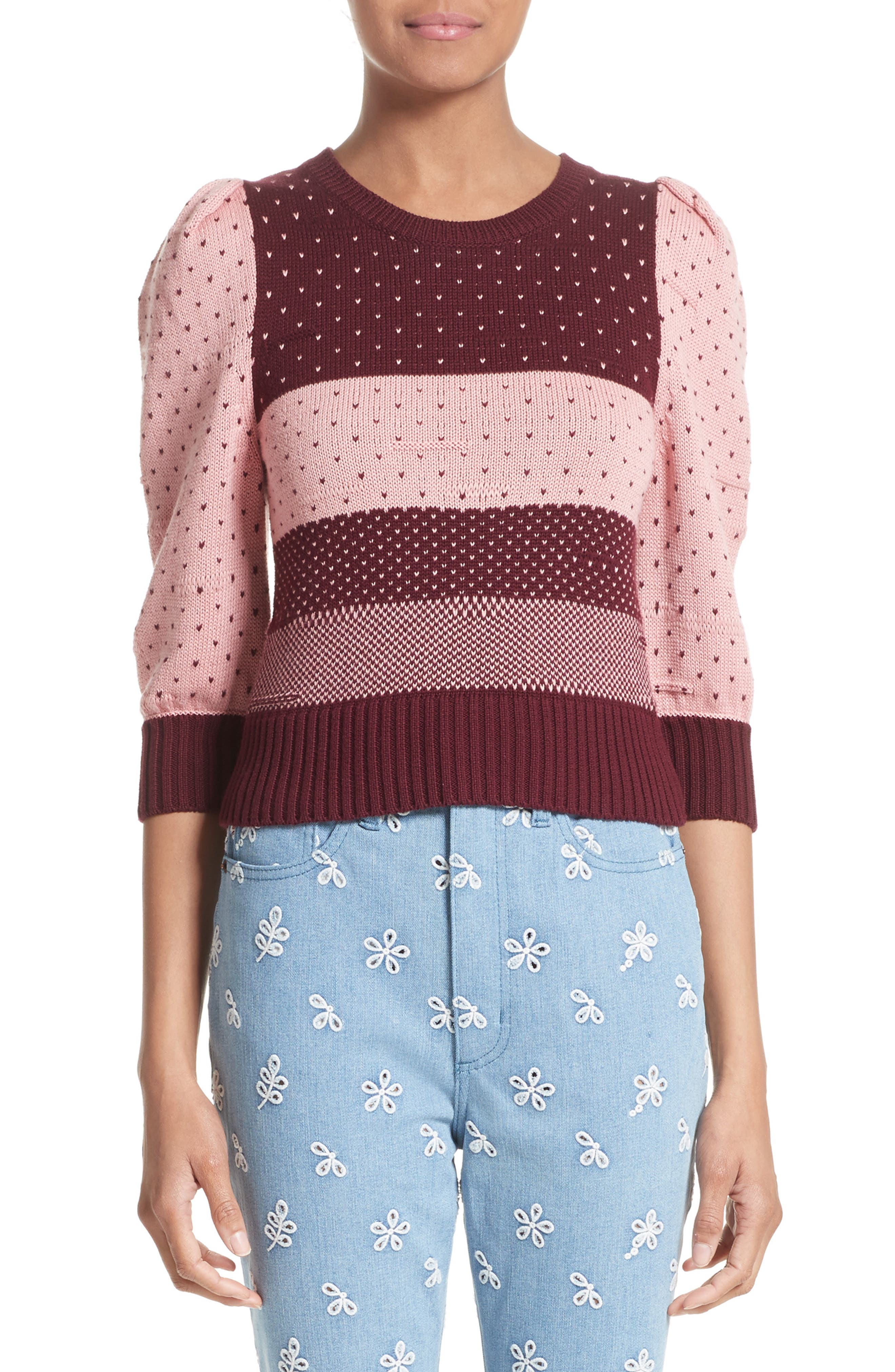 Cotton Jacquard Sweater,                         Main,                         color, Pink Multi