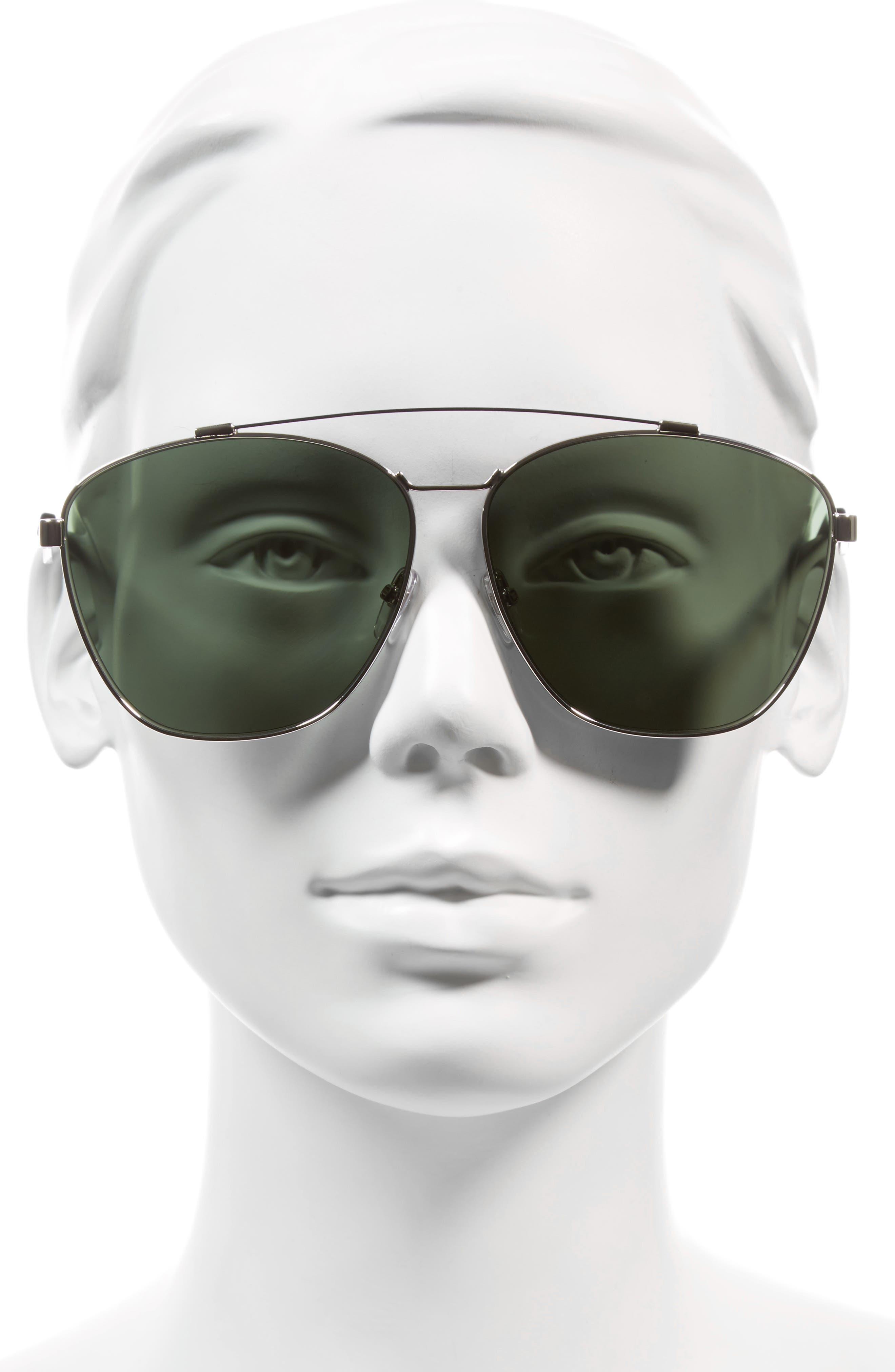 65mm Round Aviator Sunglasses,                             Alternate thumbnail 2, color,                             Palladium