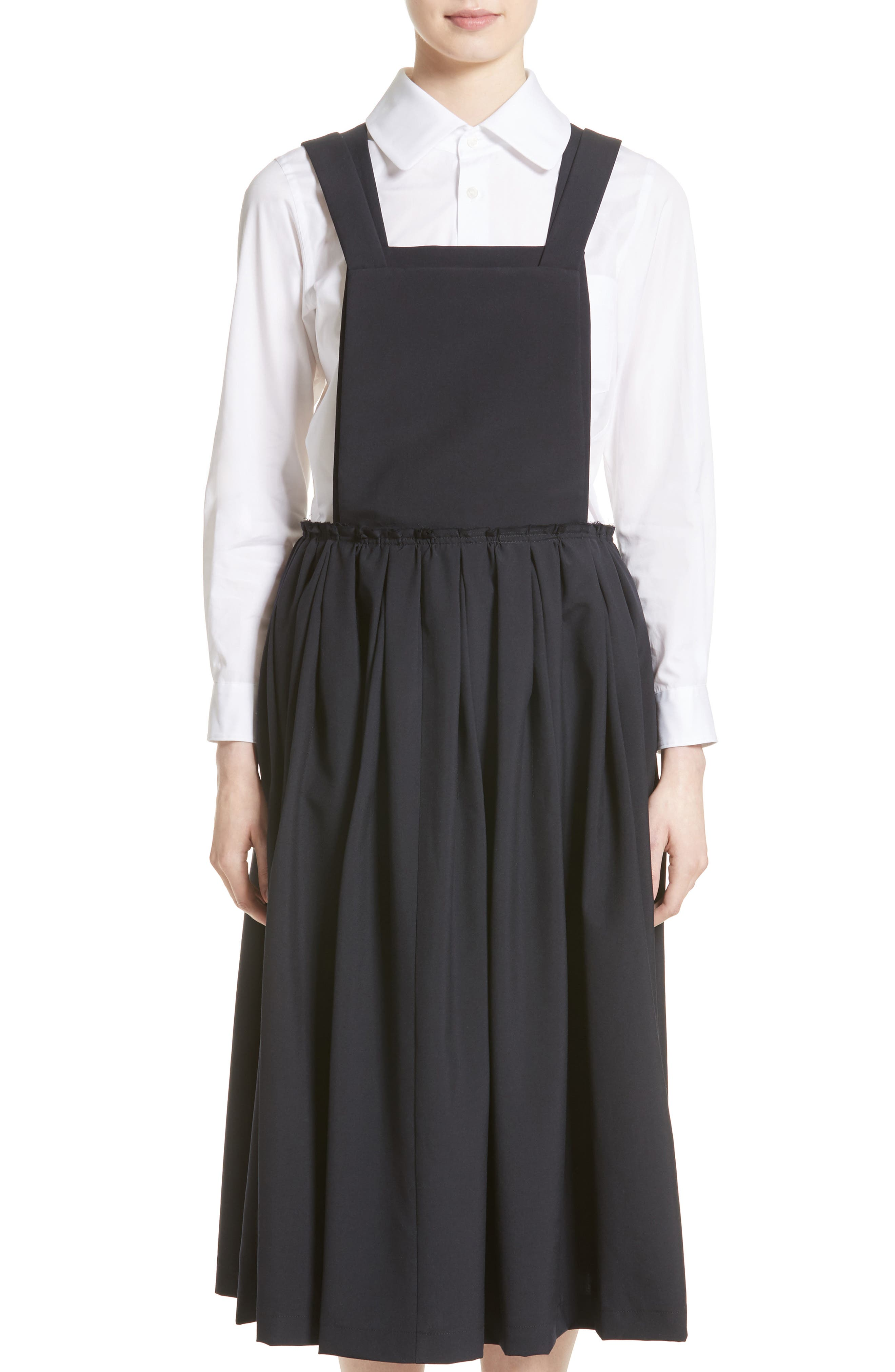 Tropical Wool Overall Dress,                         Main,                         color, Navy