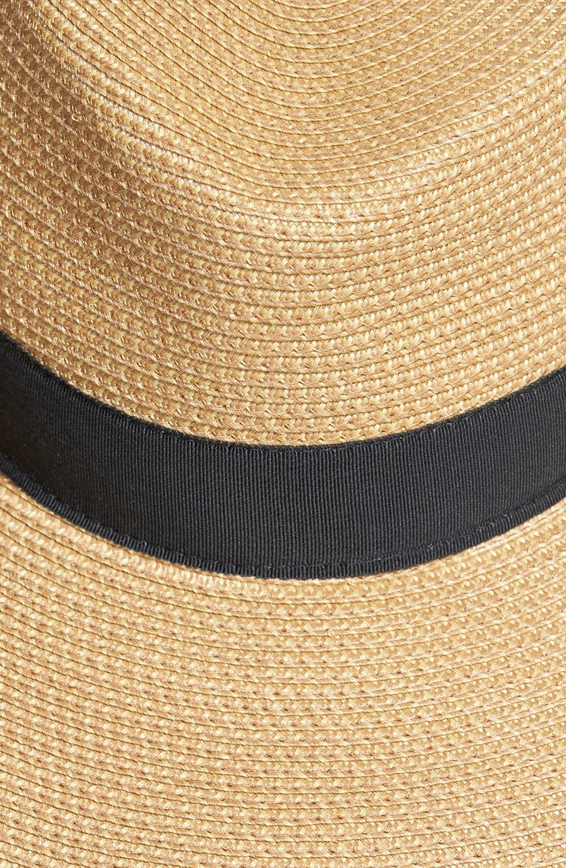'Daphne' Broad Brim Fedora,                             Alternate thumbnail 2, color,                             Natural/ Black