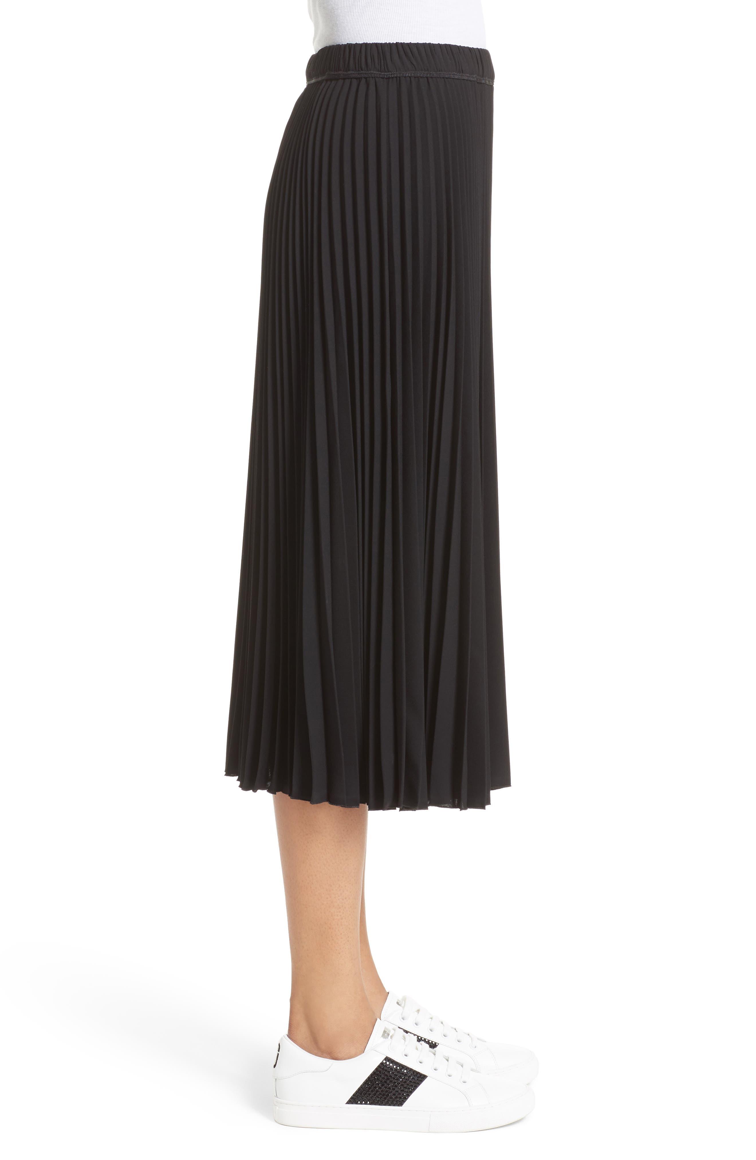 Pleated Crêpe de Chine Midi Skirt,                             Alternate thumbnail 8, color,                             Black