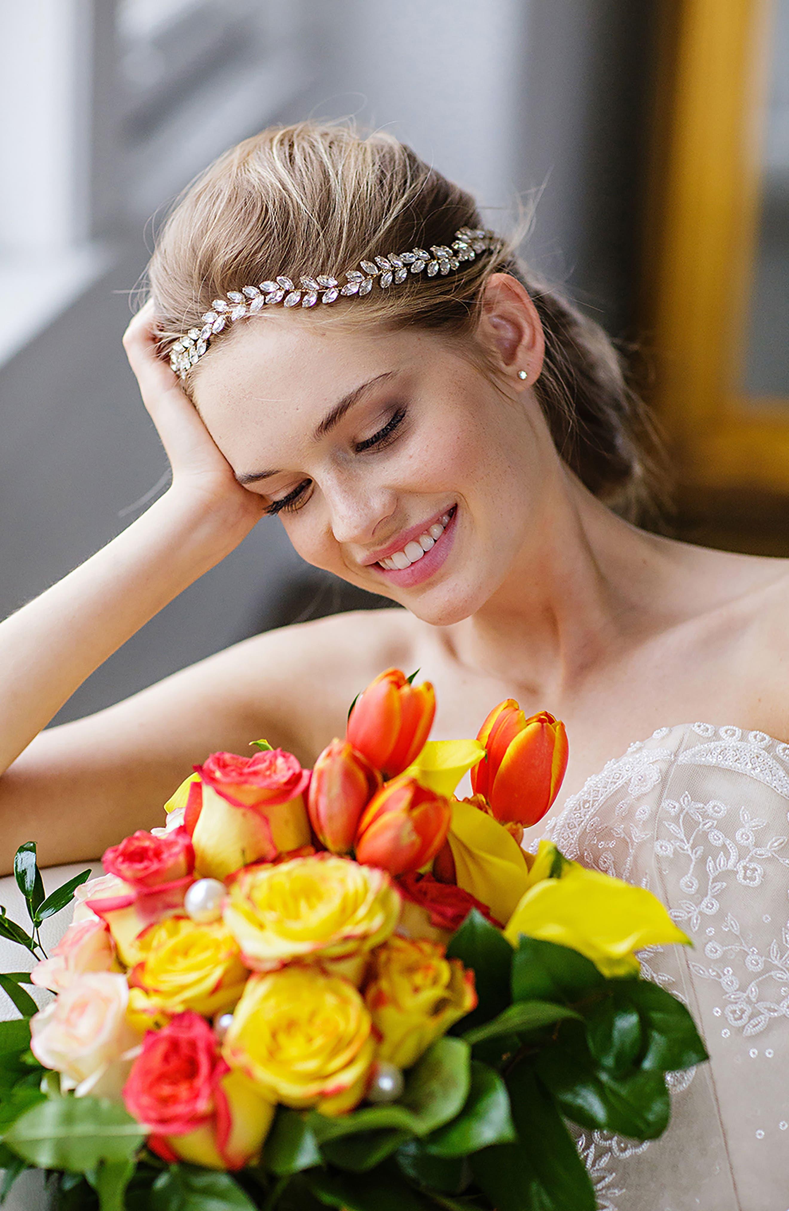 Alternate Image 2  - Brides & Hairpins Alegra Crystal Leaf Halo & Sash