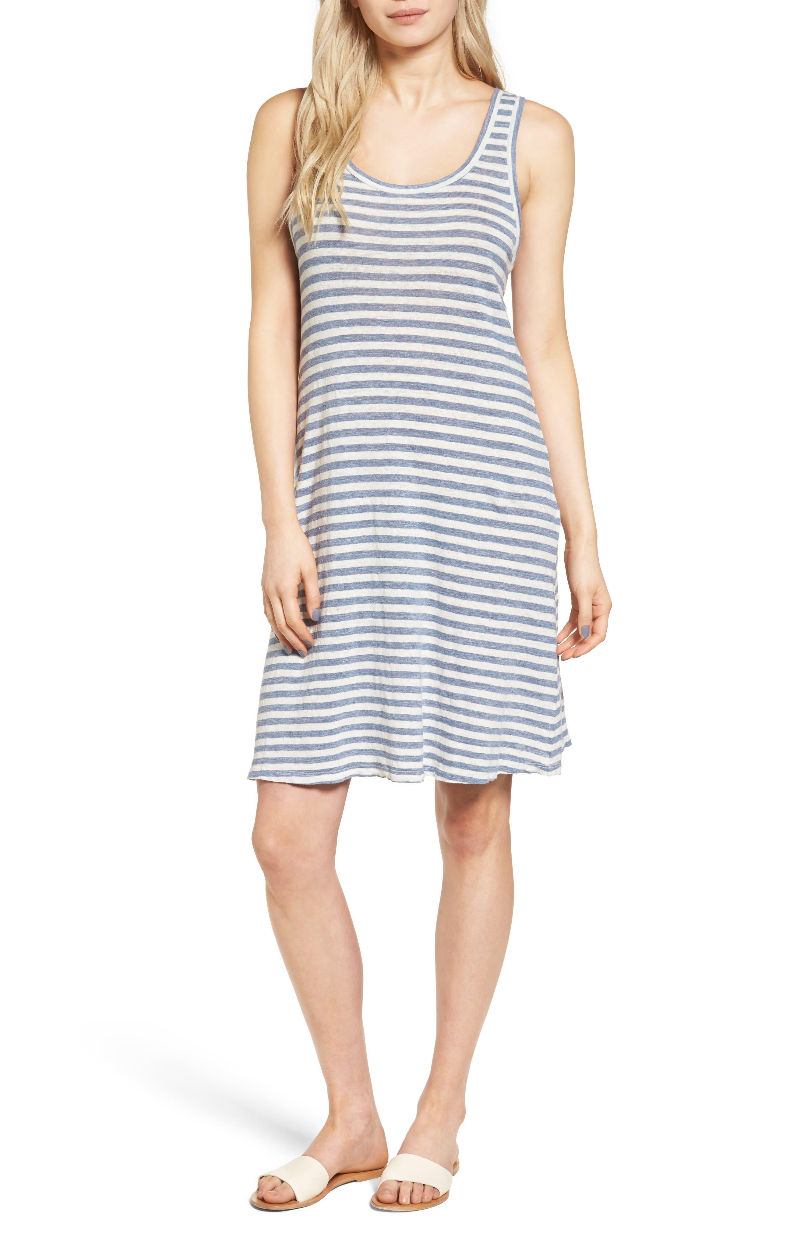 Avril Linen Tank Dress,                         Main,                         color, Heather Blue/ Powder White