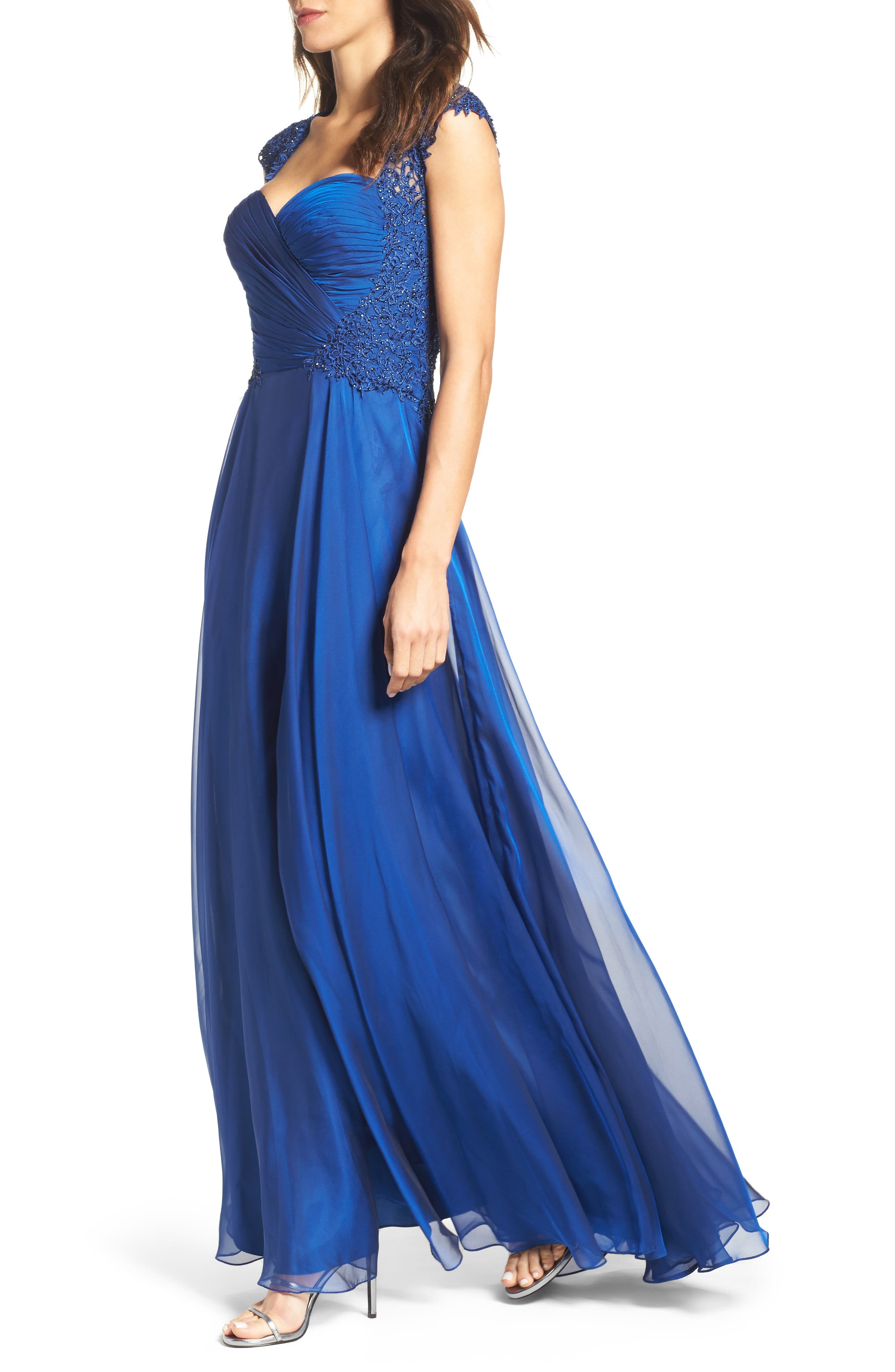 Ruched Chiffon Gown,                             Alternate thumbnail 4, color,                             Marine Blue