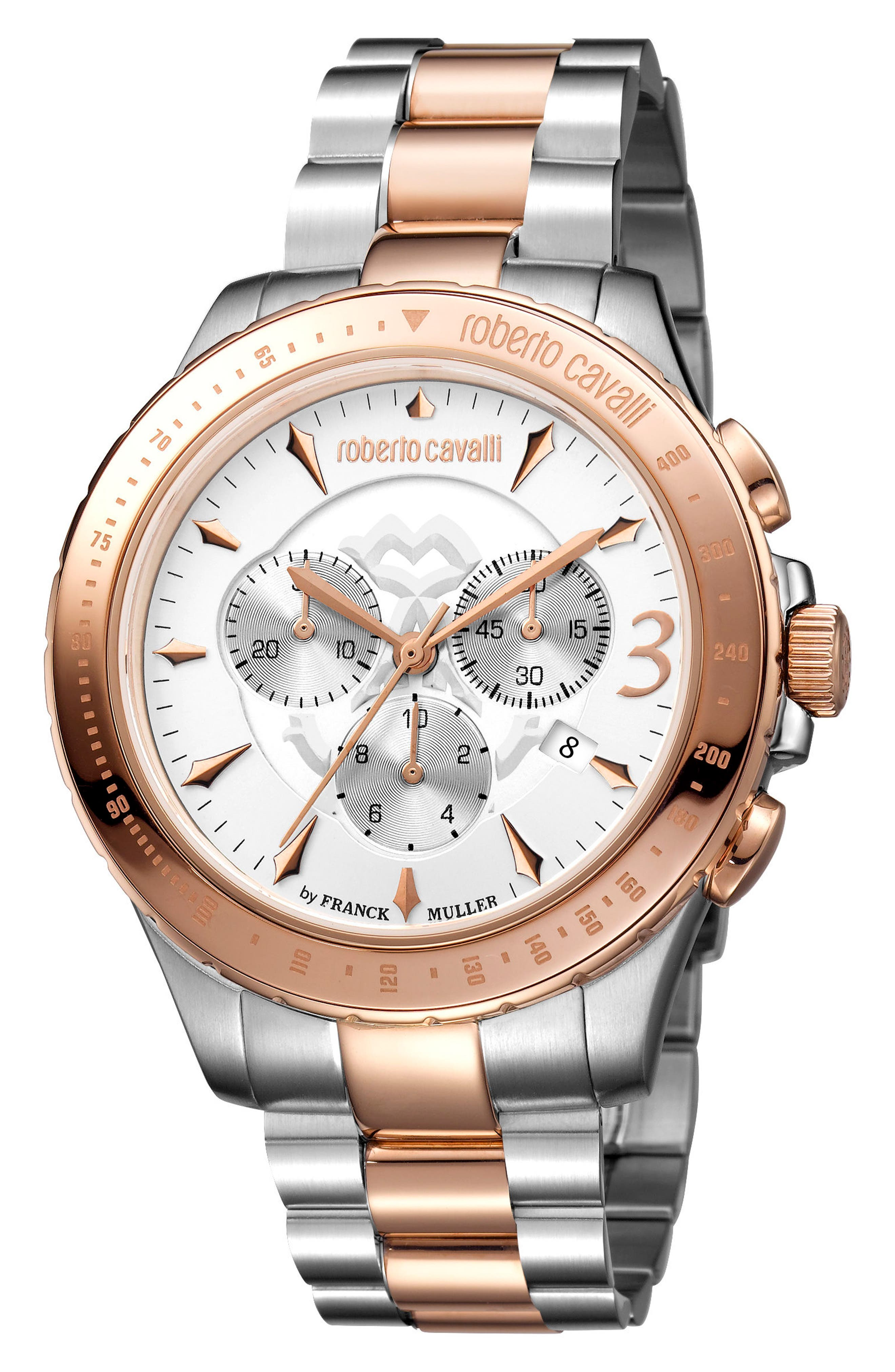 Chronograph Bracelet Watch, 43mm,                         Main,                         color, Silver/ White/ Rose Gold
