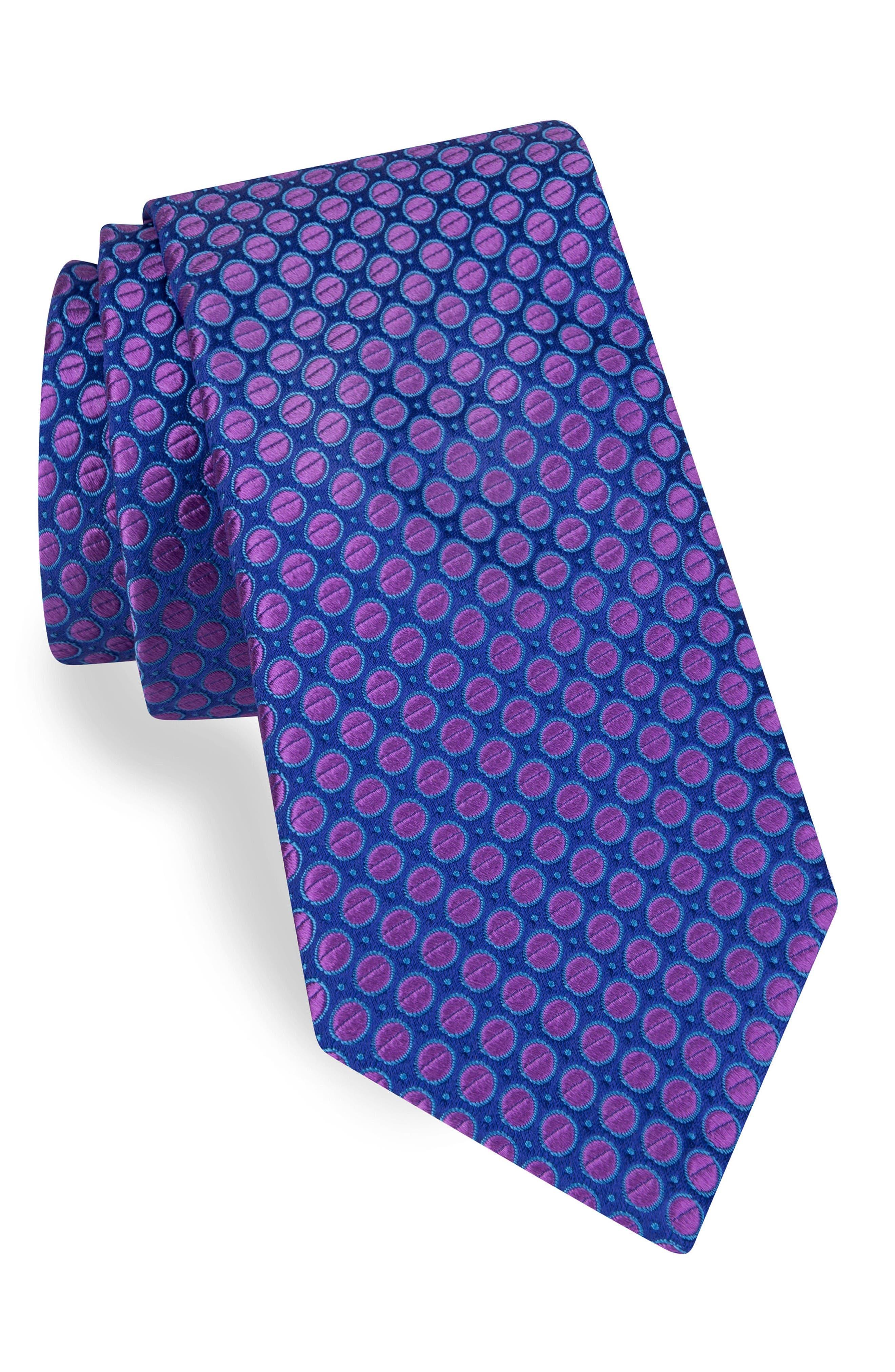 Dot Silk Tie,                             Main thumbnail 1, color,                             Royal/ Berry