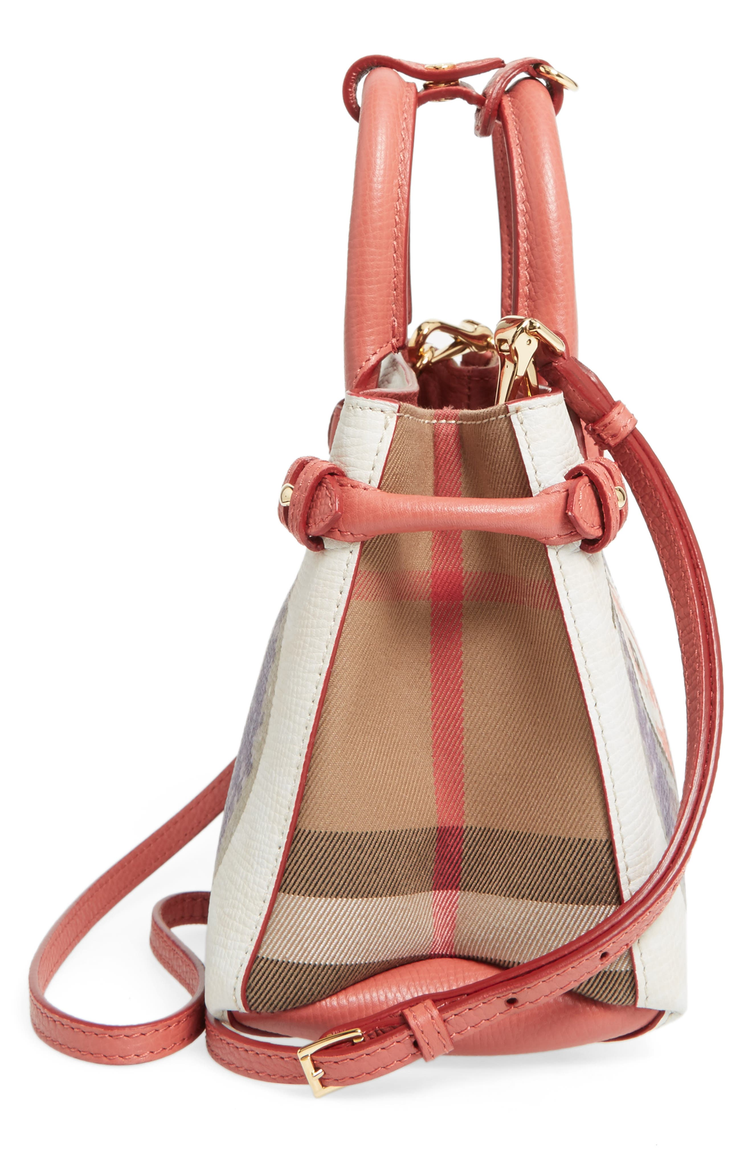 Small Banner - Palace Print Leather Tote,                             Alternate thumbnail 5, color,                             Cinnamon Red