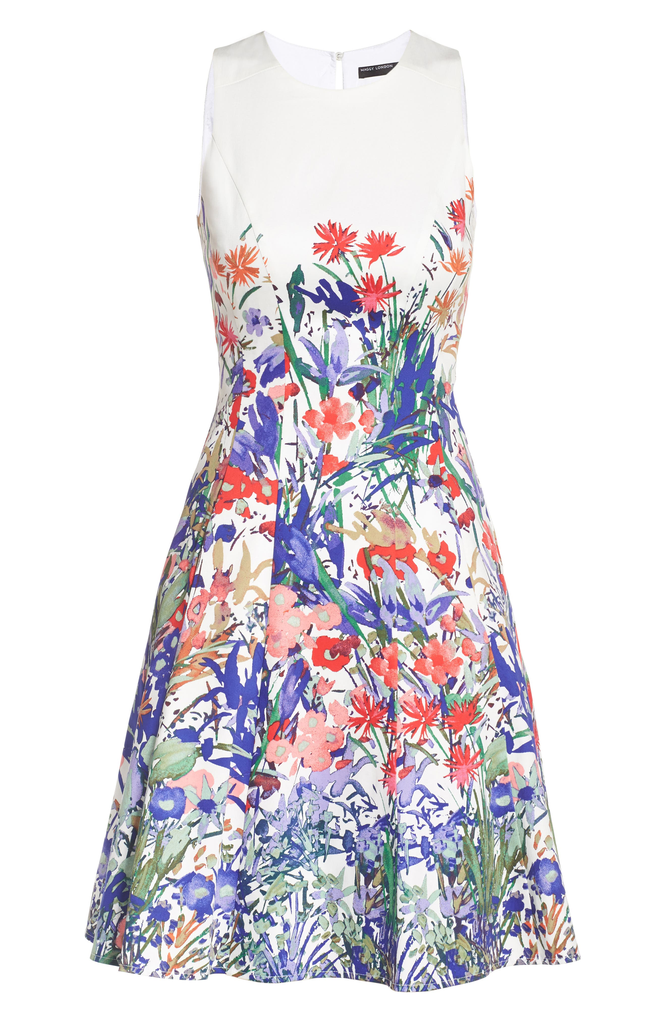 Cottage Garden Fit & Flare Dress,                             Alternate thumbnail 6, color,                             Soft White/ Coral/ Purple