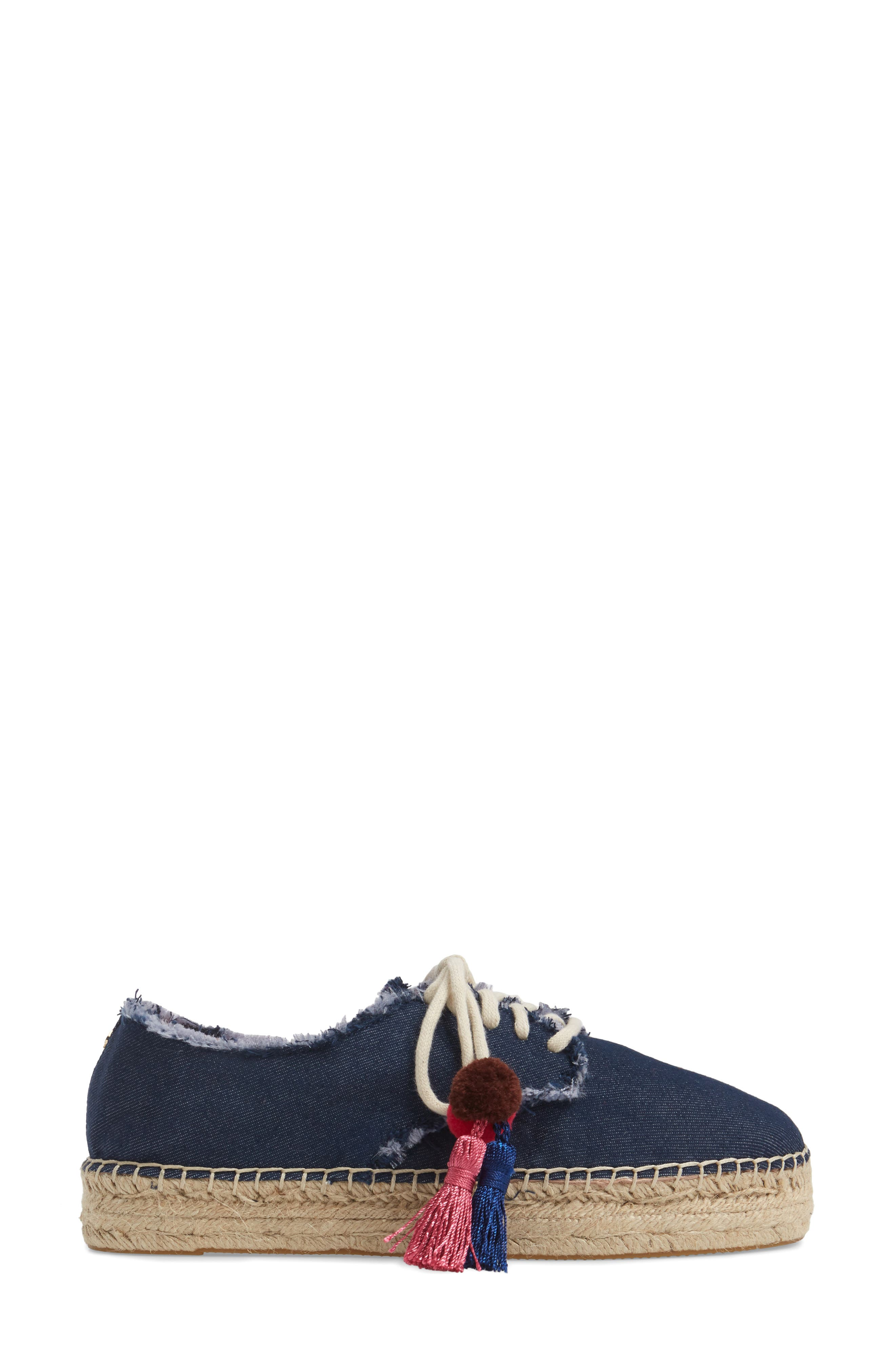 lane espadrille platform sneaker,                             Alternate thumbnail 3, color,                             Blue Jeans
