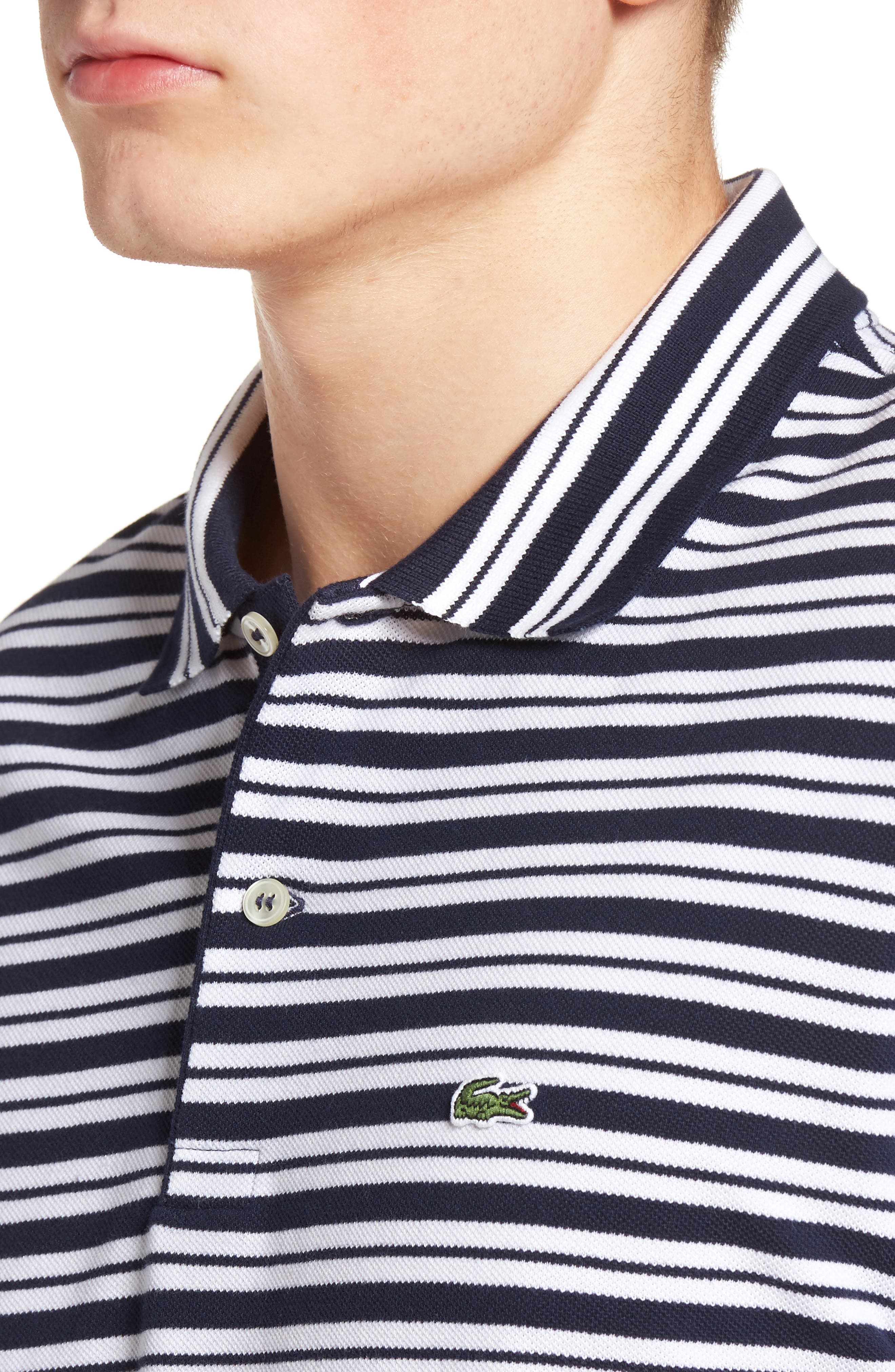 Striped Polo,                             Alternate thumbnail 4, color,                             Navy Blue/ White