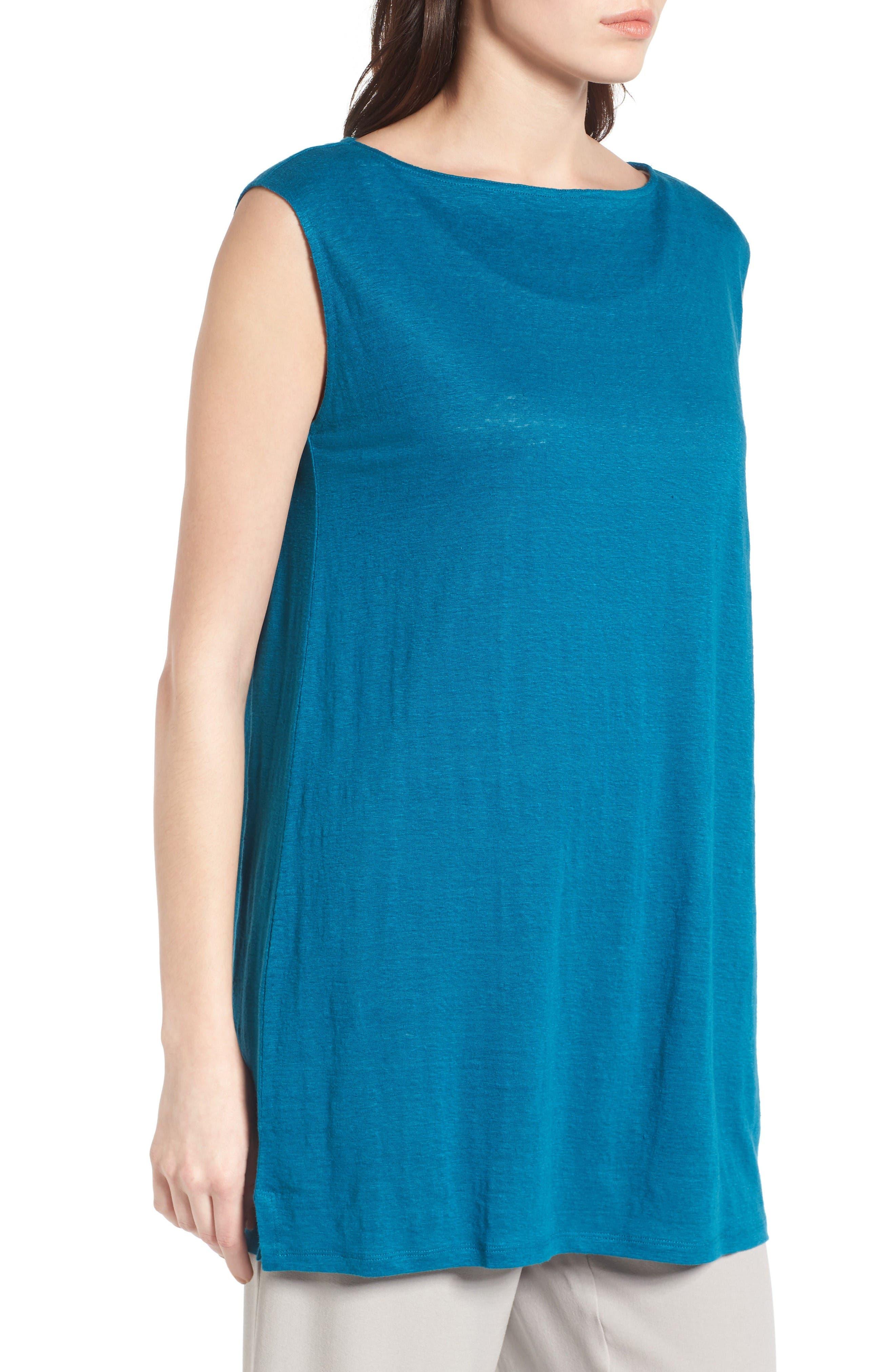 Organic Linen Tunic,                             Alternate thumbnail 3, color,                             Jewel