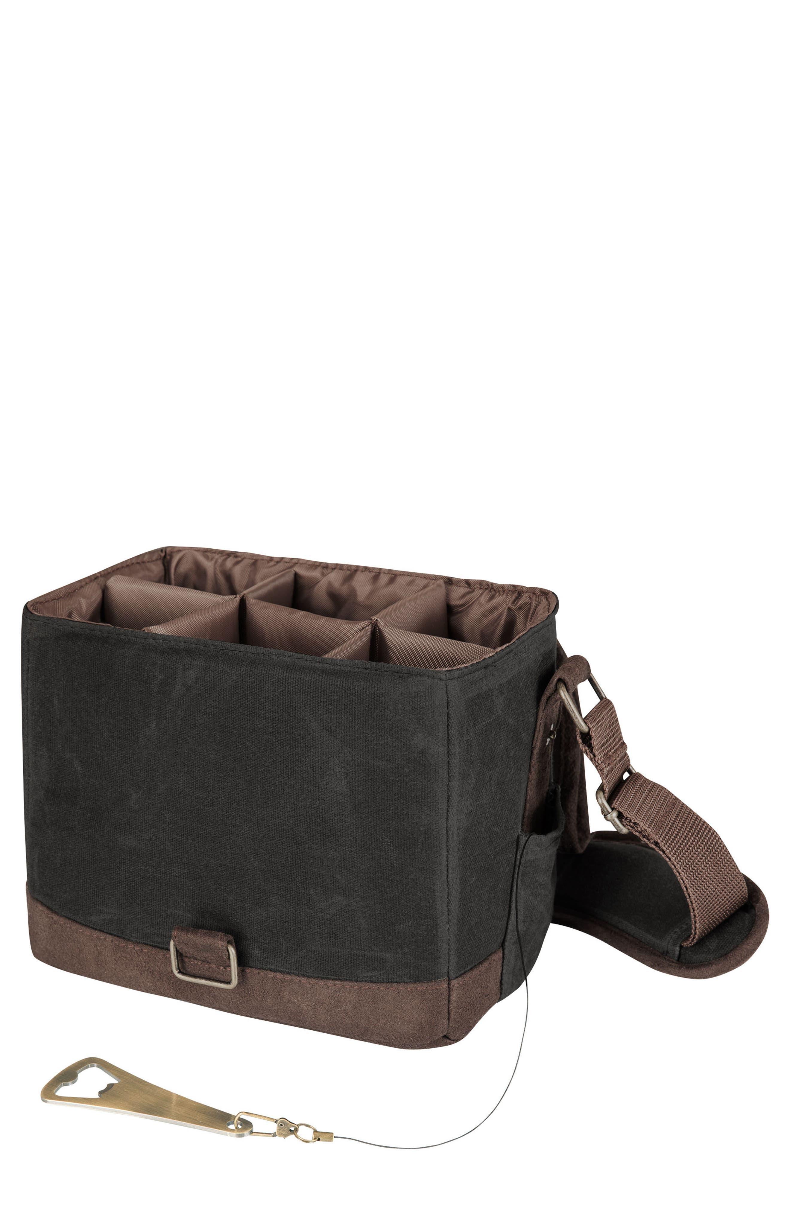 Beer Caddy Cooler Tote,                         Main,                         color, Black/ Brown