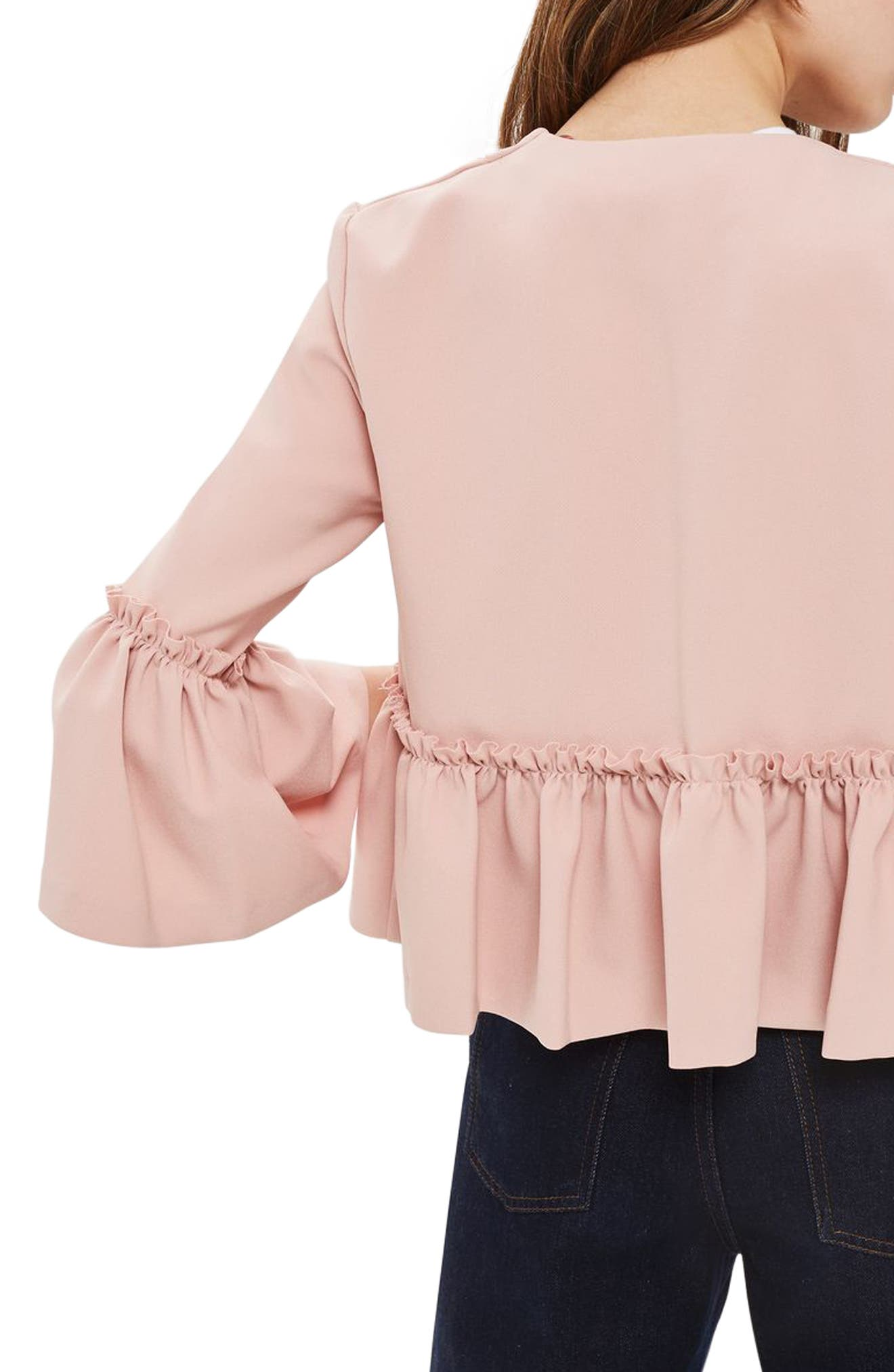 Ruffle Crop Jacket,                             Alternate thumbnail 3, color,                             Blush